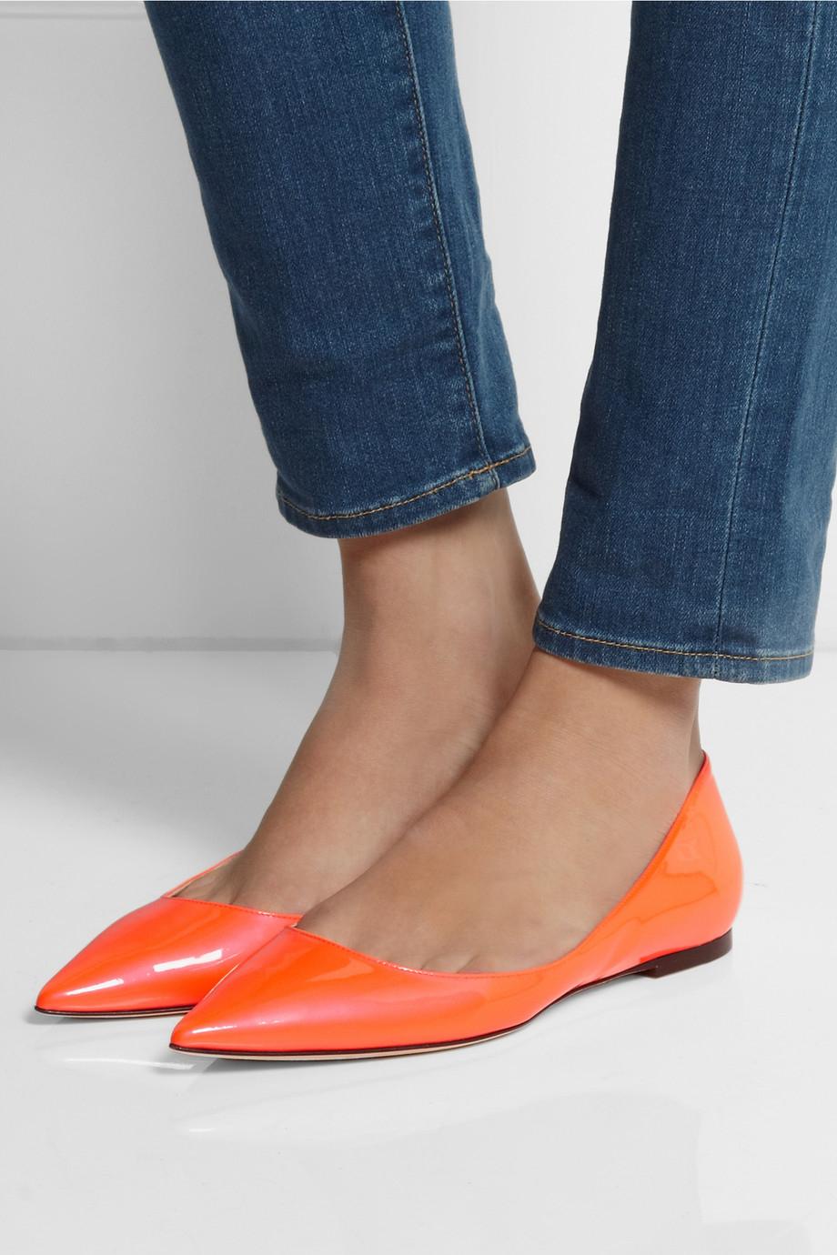 742a5e8c7e2 Lyst - Jimmy Choo Alina Neon Patentleather Pointtoe Flats in Orange