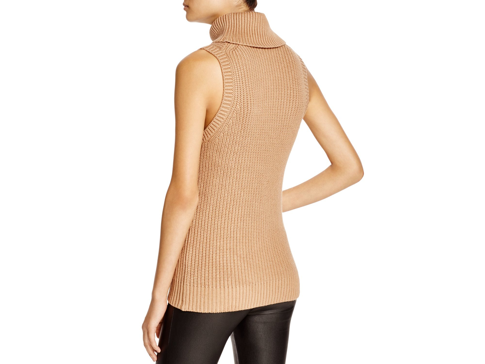a60e309db87b1 Lyst - MICHAEL Michael Kors Sleeveless Turtleneck Sweater in Natural