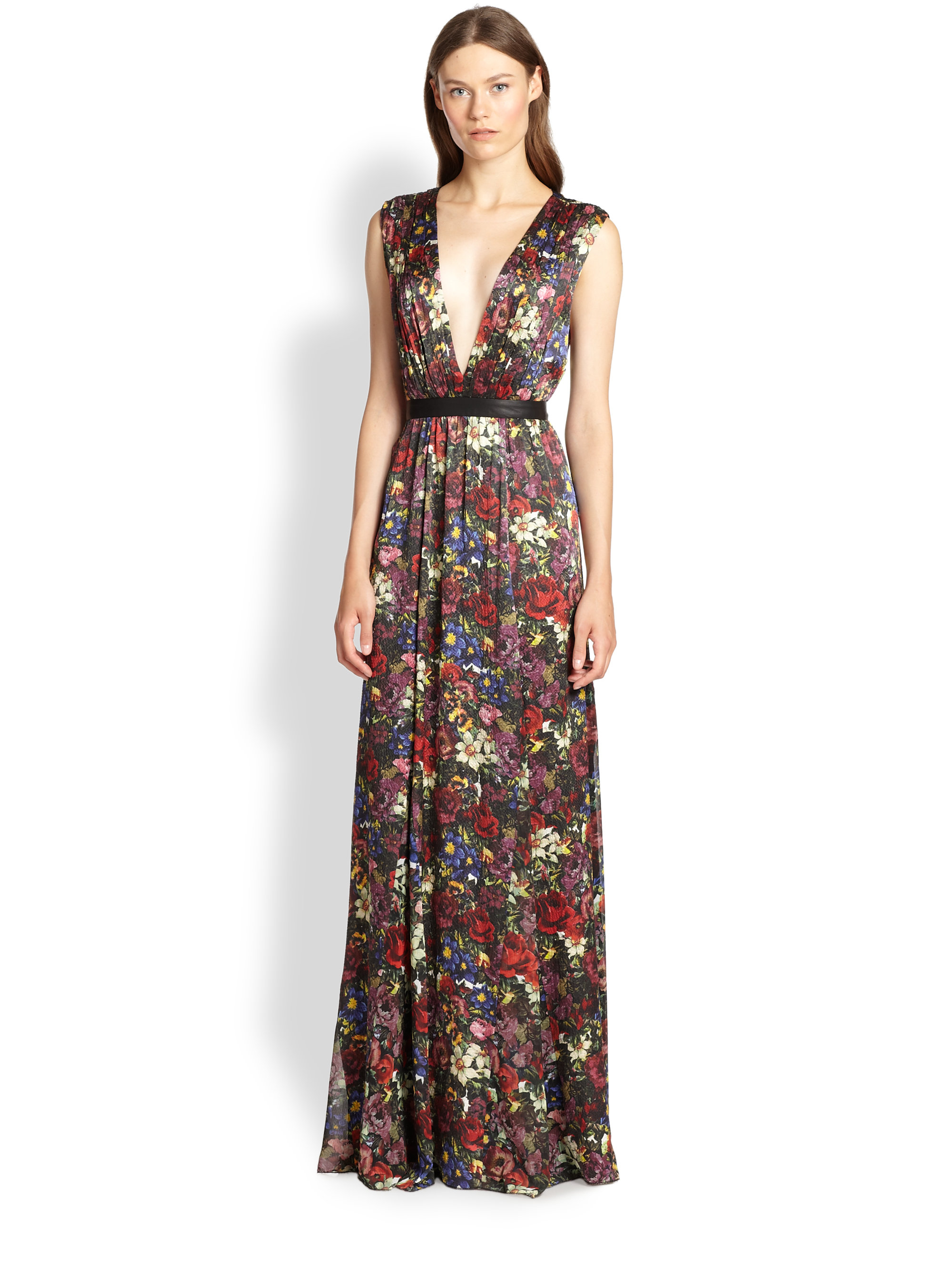 Lyst - Alice + Olivia Triss Leather-Trim Maxi Dress
