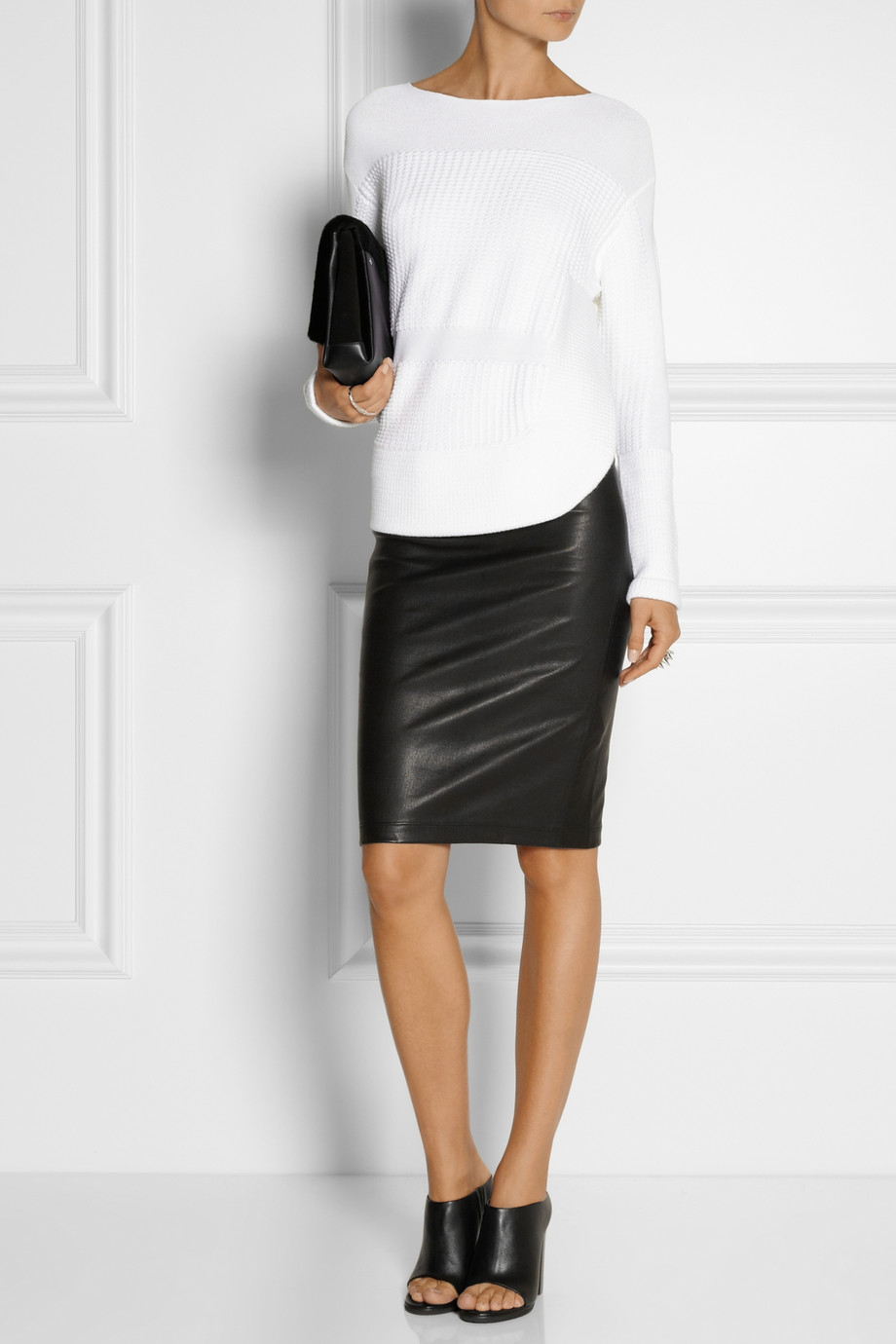 helmut lang stretch leather pencil skirt in black lyst