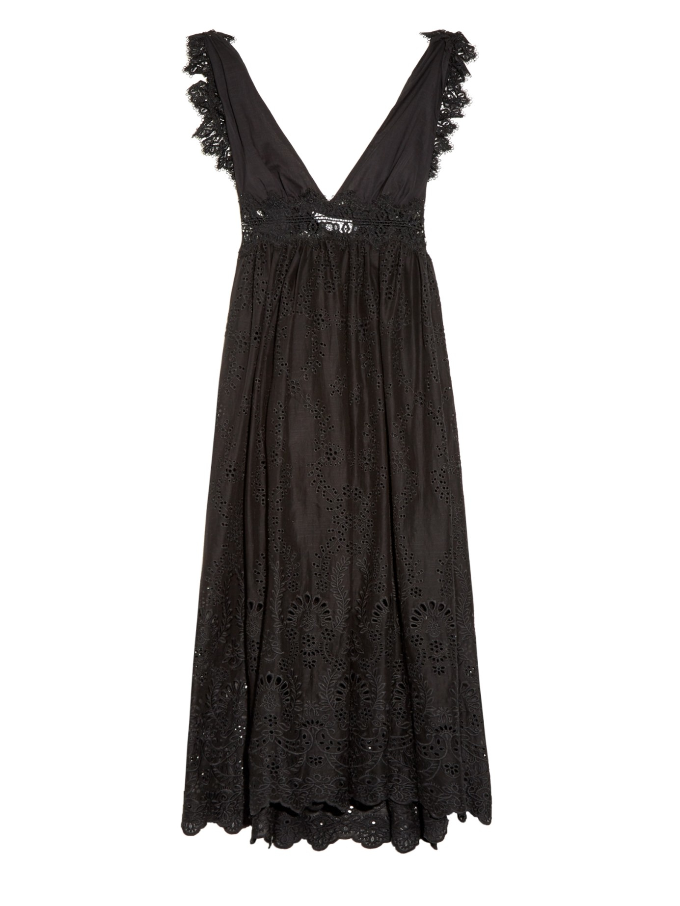 lyst   zimmermann alchemy flutter eyelet lace dress in black