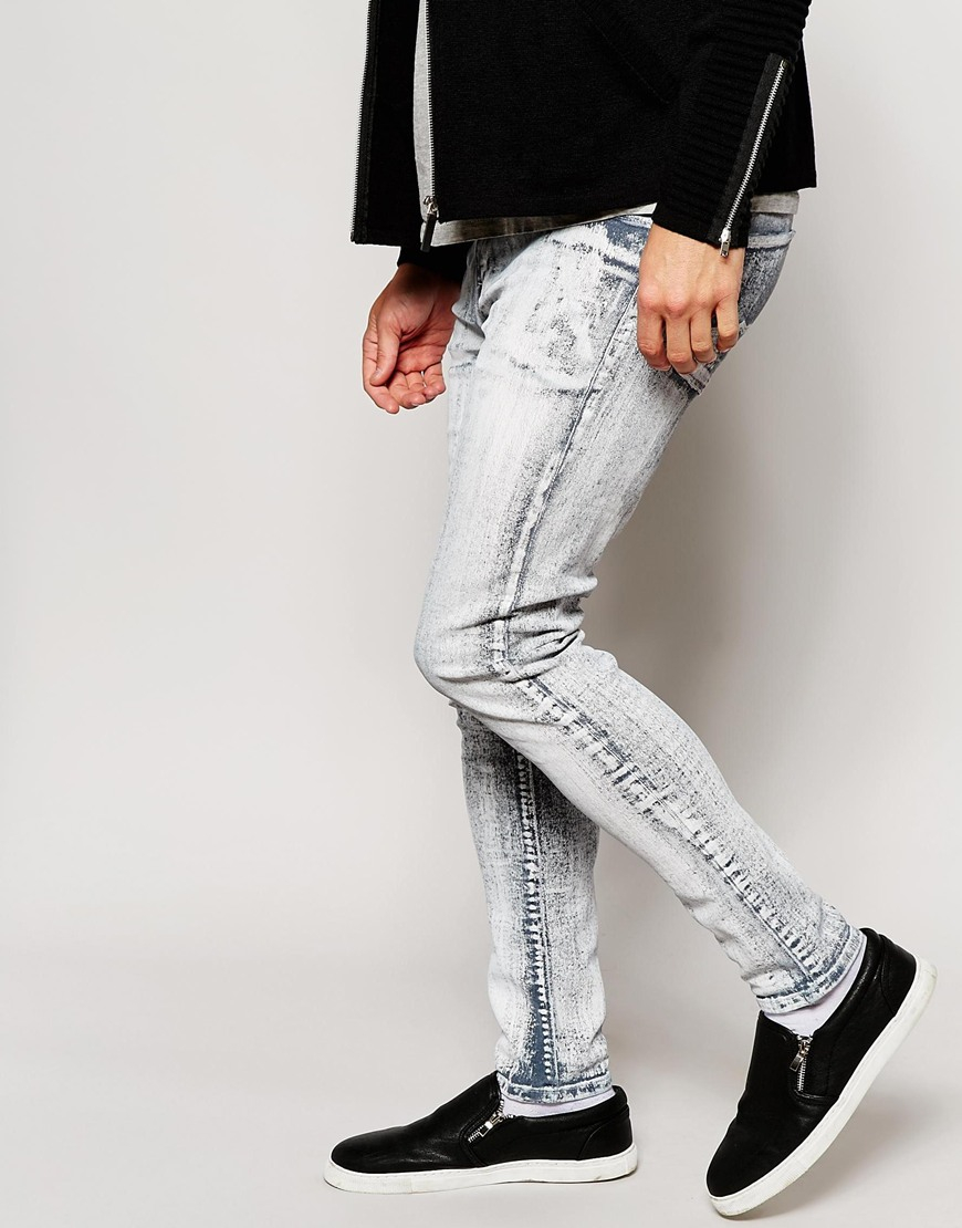 22a87c52c48 Lyst - ASOS Super Skinny Jeans With Cracked Print in Gray for Men