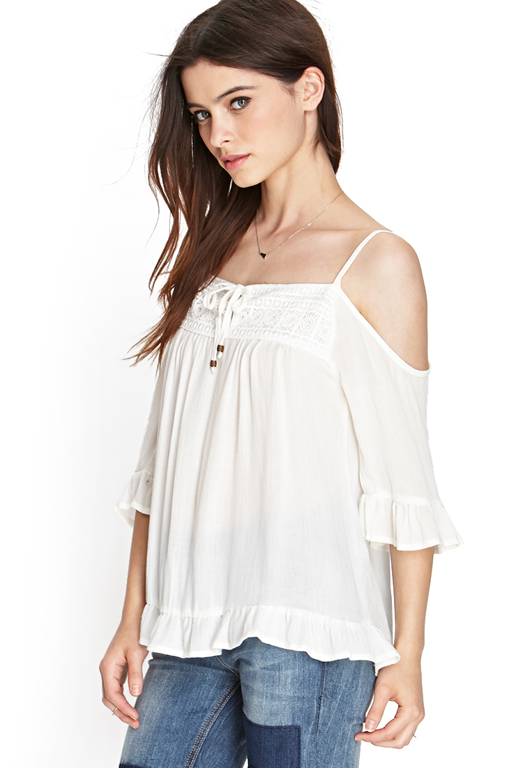 e3c7123a5769f5 Forever 21 Open-shoulder Peasant Top in White - Lyst