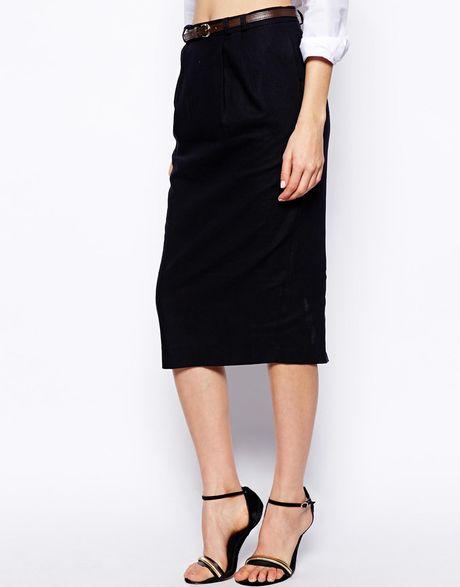 asos exclusive linen pencil skirt with belt in blue navy