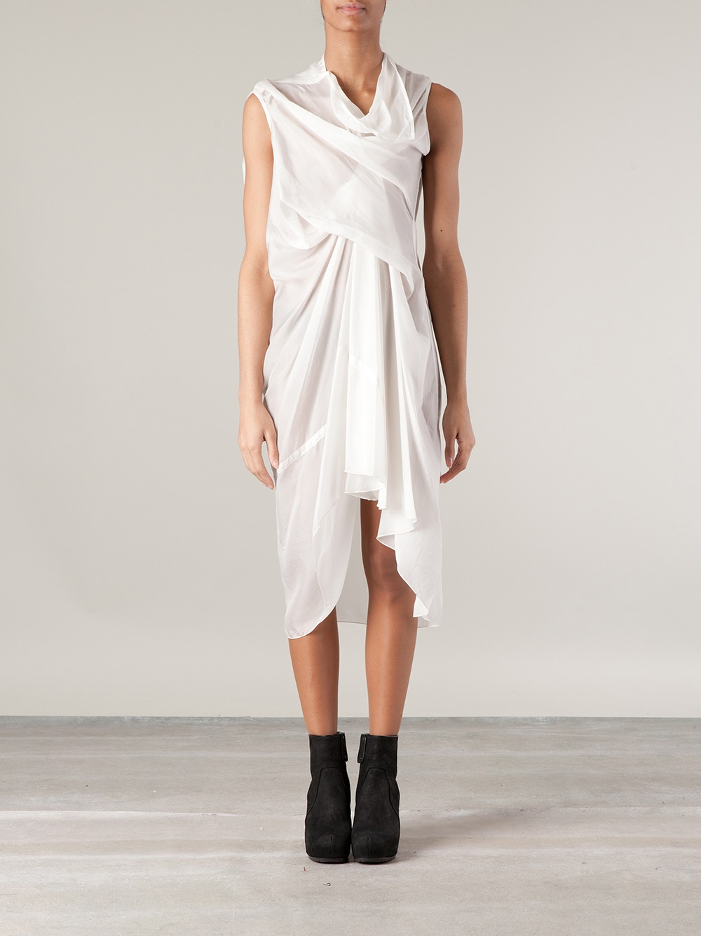 Rick Owens Draped Togastyle Dress In White Lyst