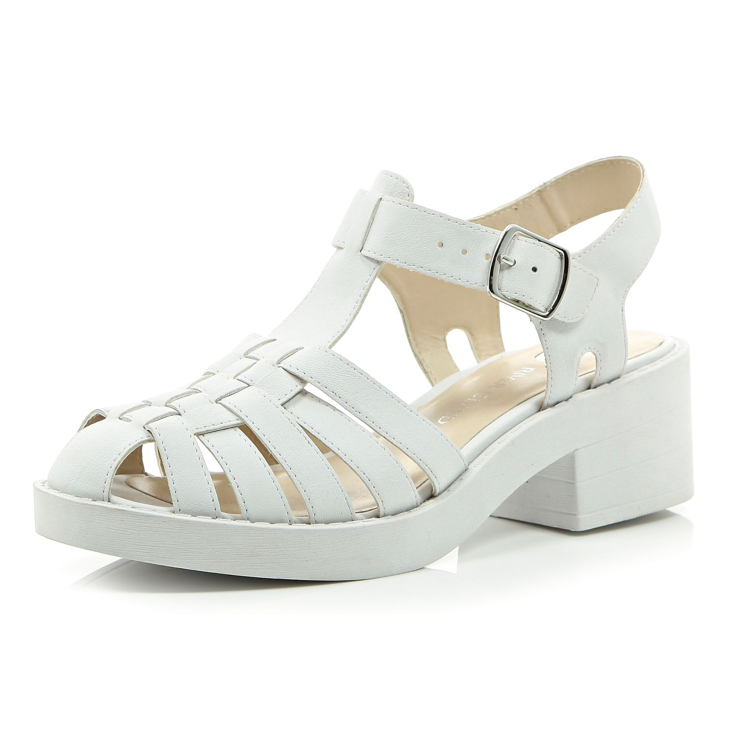 river island white chunky woven shoes in white lyst