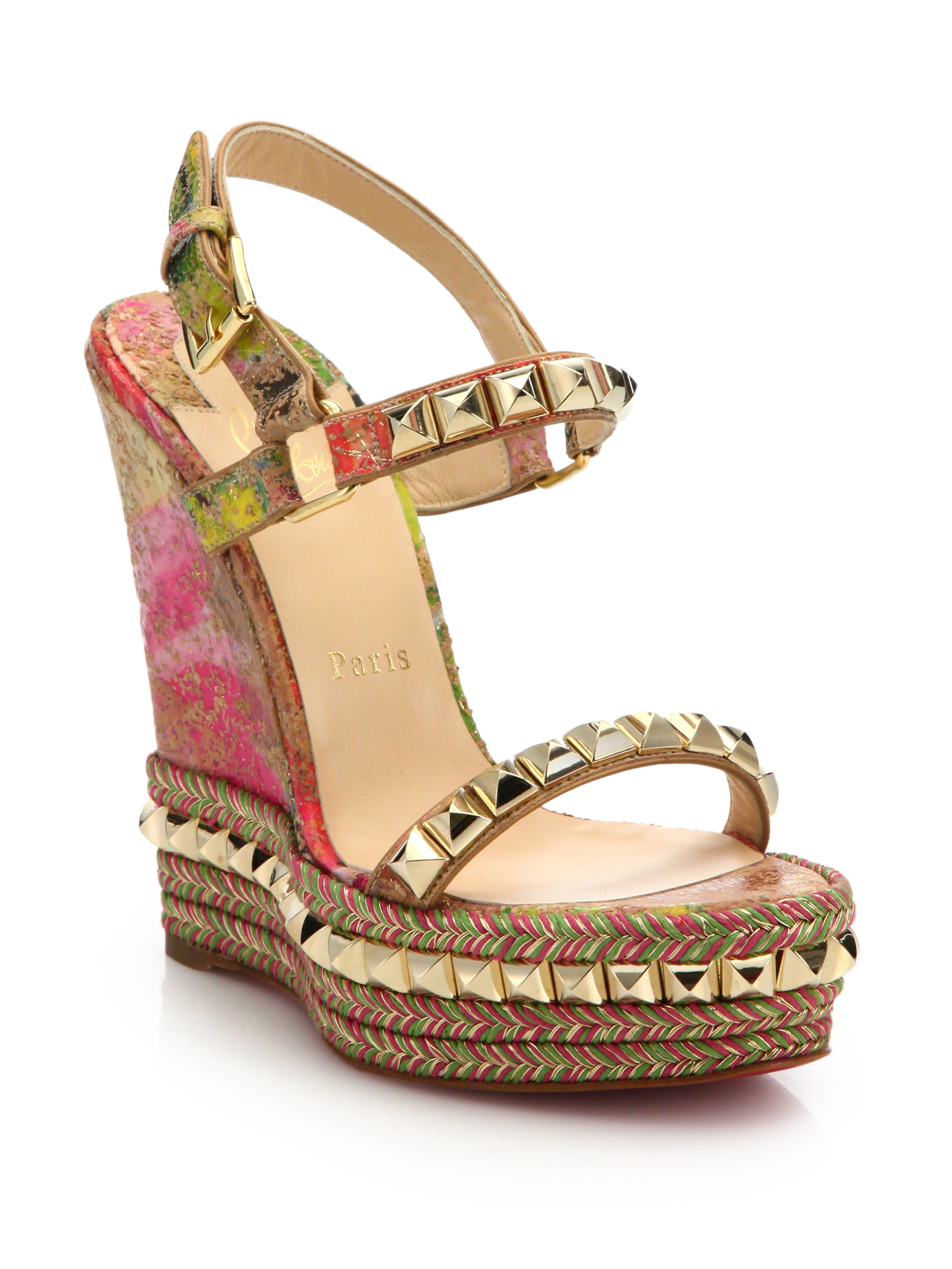 16a9527e5ce1 Lyst - Christian Louboutin Pyramid-studded Cork Espadrille Wedge Sandals
