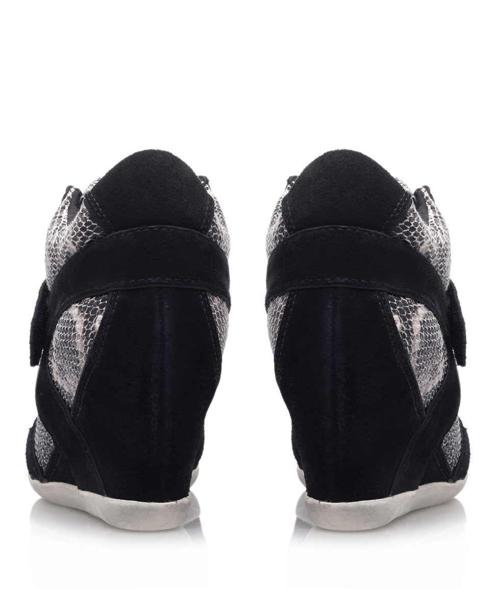 Ash Black Bisou Ter Snake Print Hitop Wedge Trainers