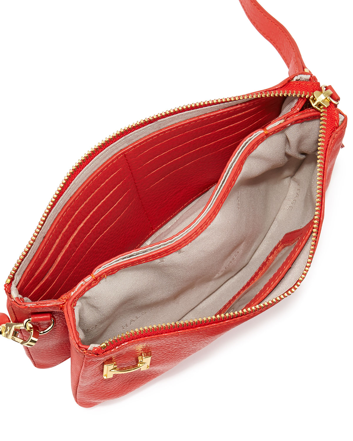 d7568e24bd Lyst - Halston Leather Double-Gusset Clutch Bag in Red