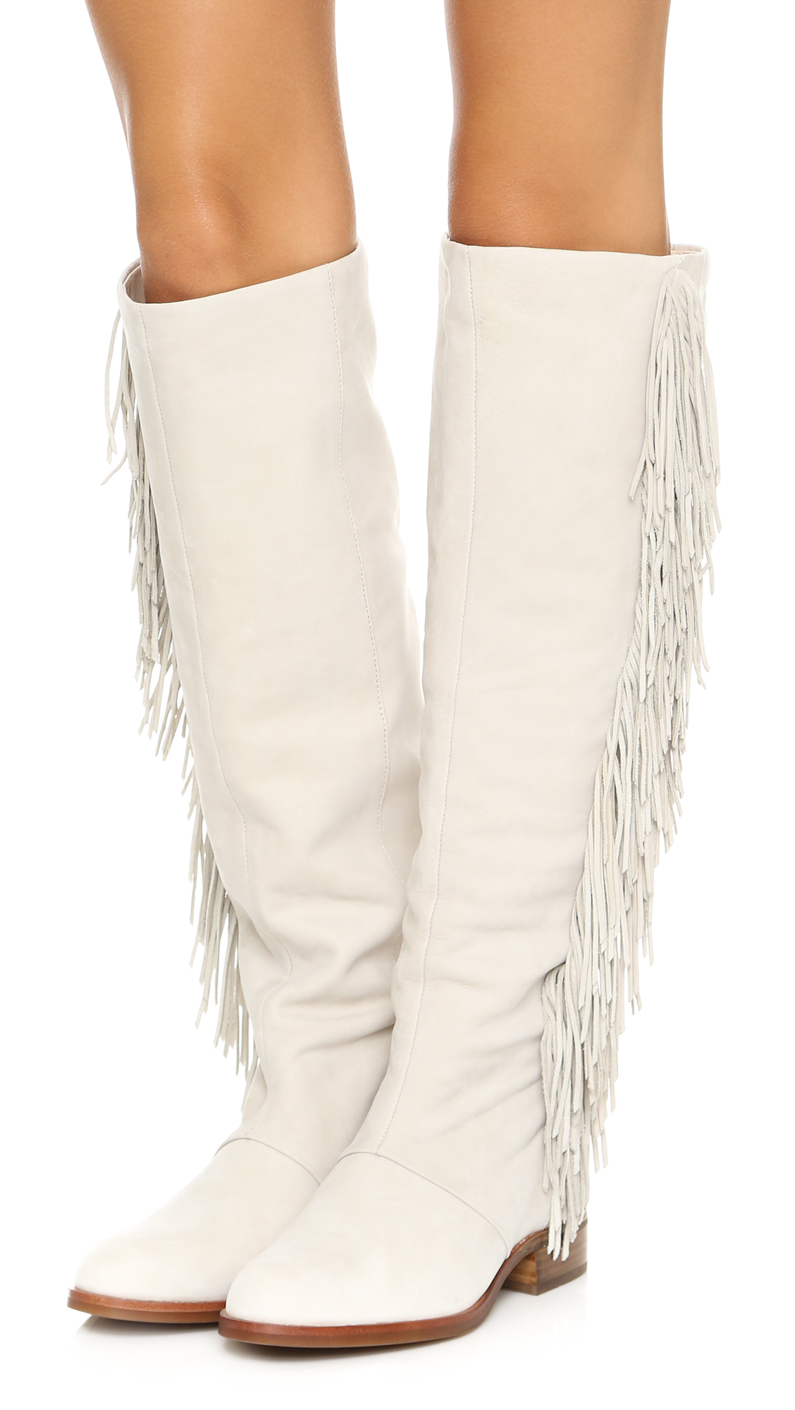 Sam Edelman Josephine Fringe Boots White In White Lyst