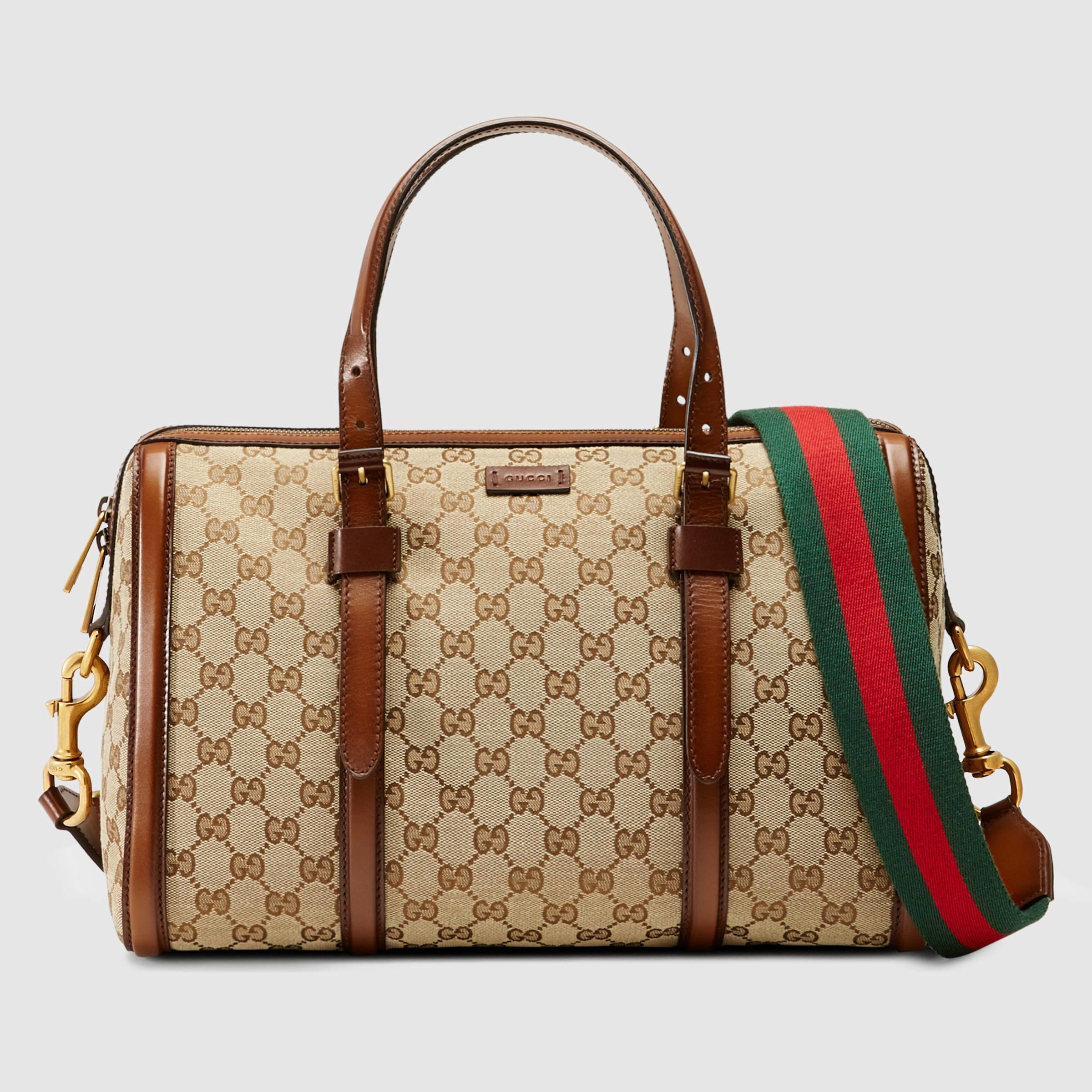 9762226cebd Lyst - Gucci Lady Web Original Gg Canvas Boston Bag