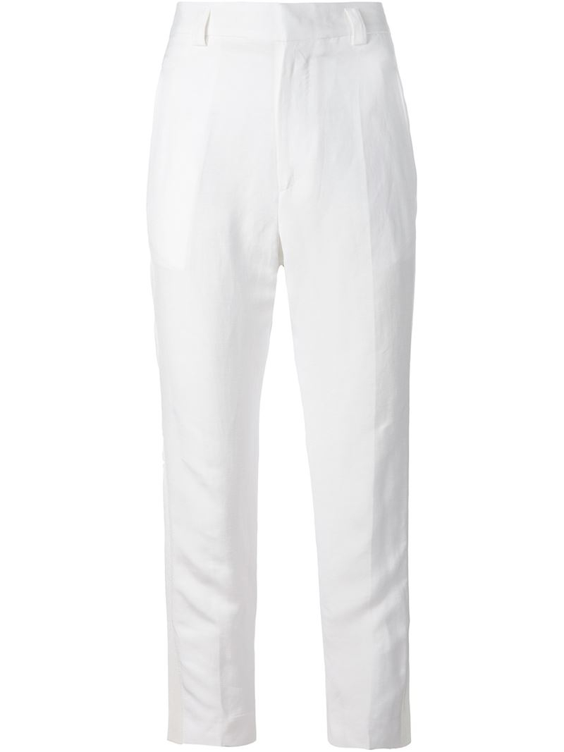 High Waisted Cropped Trousers from Red Valentino: Cherry High Waisted Cropped Trousers with belt loops, belted waist, concealed front fastening, side pockets, rear pockets, straight leg and cropped .