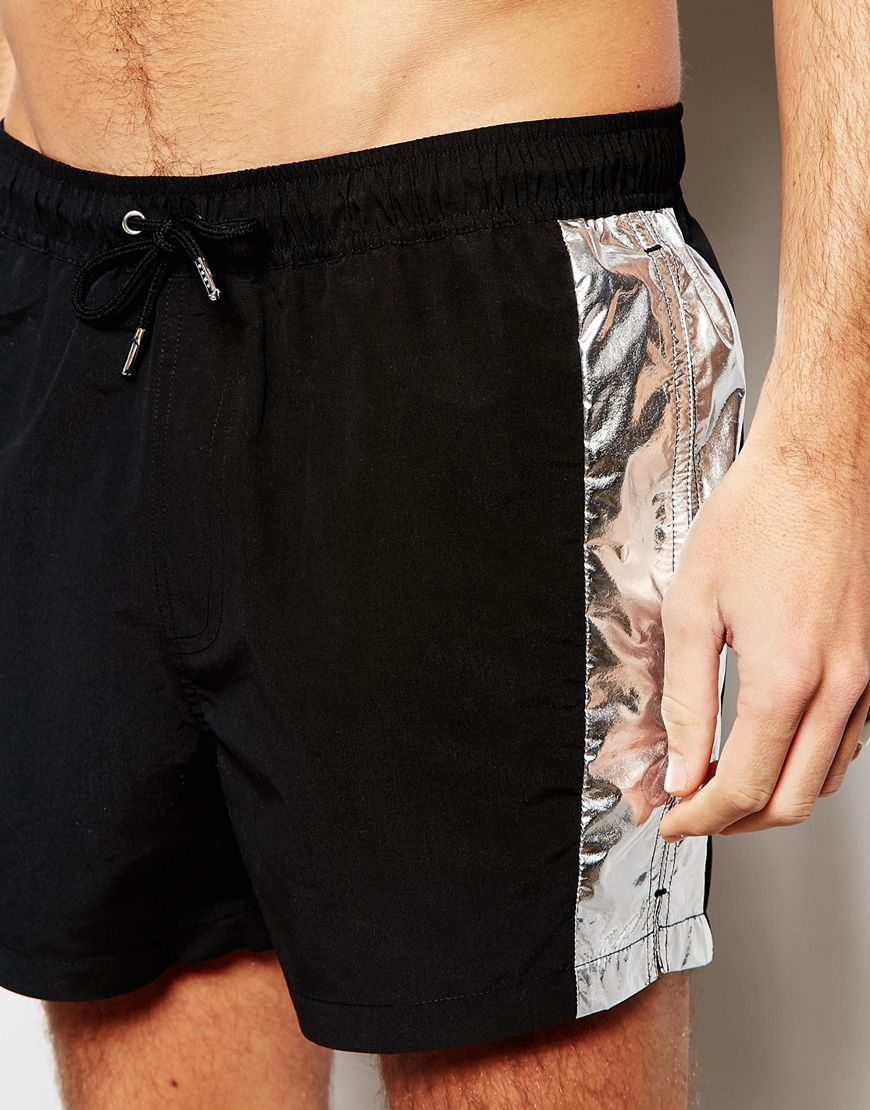 6c3179c7ef Lyst - ASOS Short Length Swim Shorts In Black With Metallic Silver Panels  in Black for Men