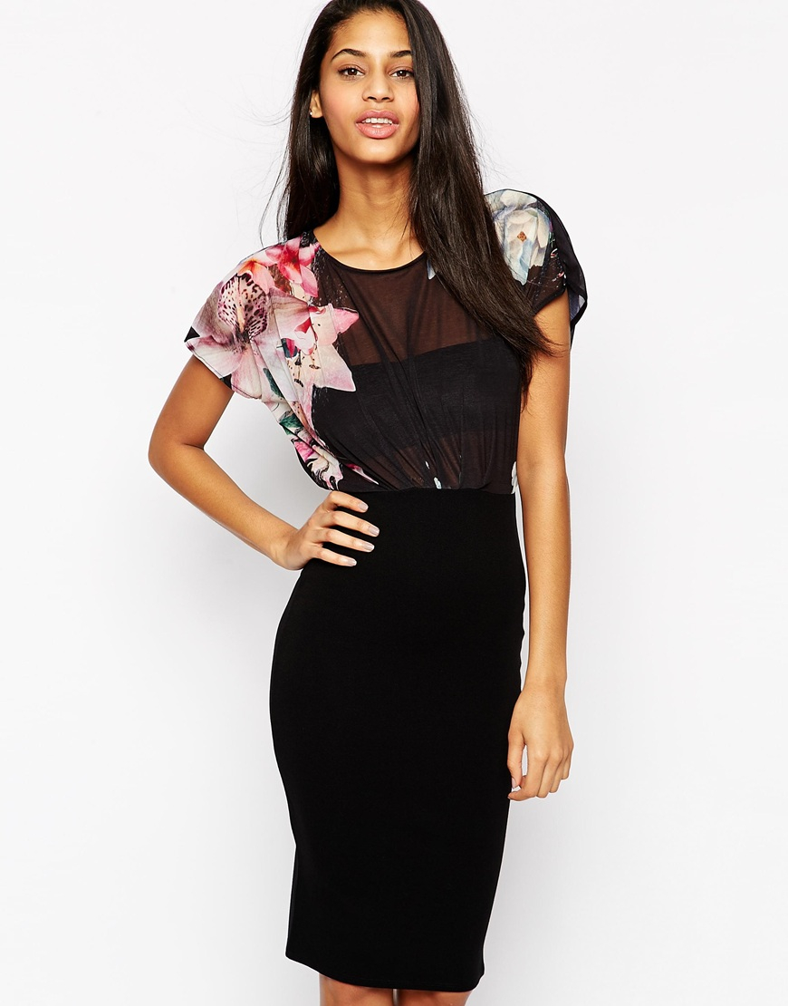 Lipsy bodycon dress with floral kimono sleeve top lyst Wedding guest dress lipsy