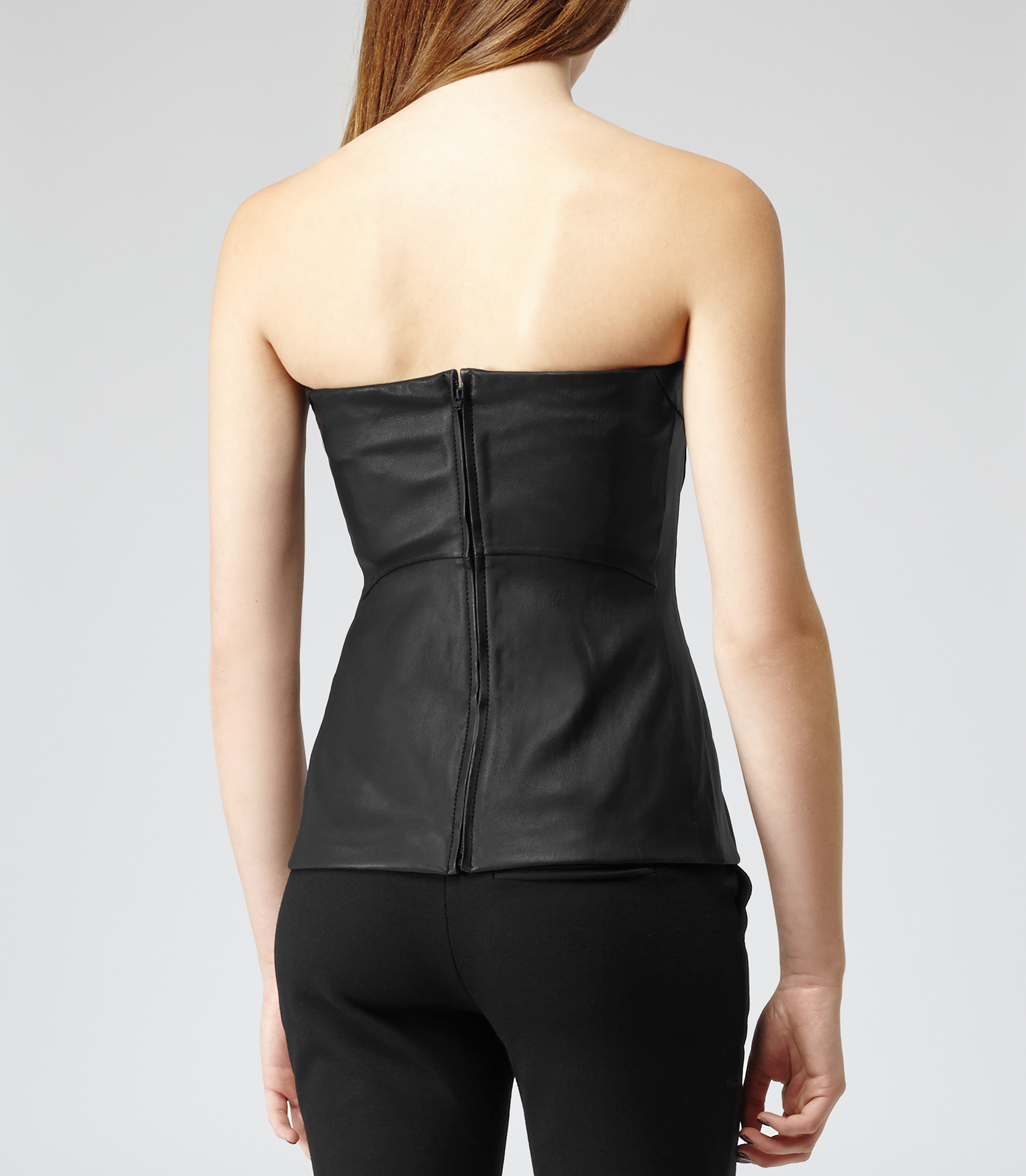 Reiss Lilibet Leather Bustier Top in Black | Lyst