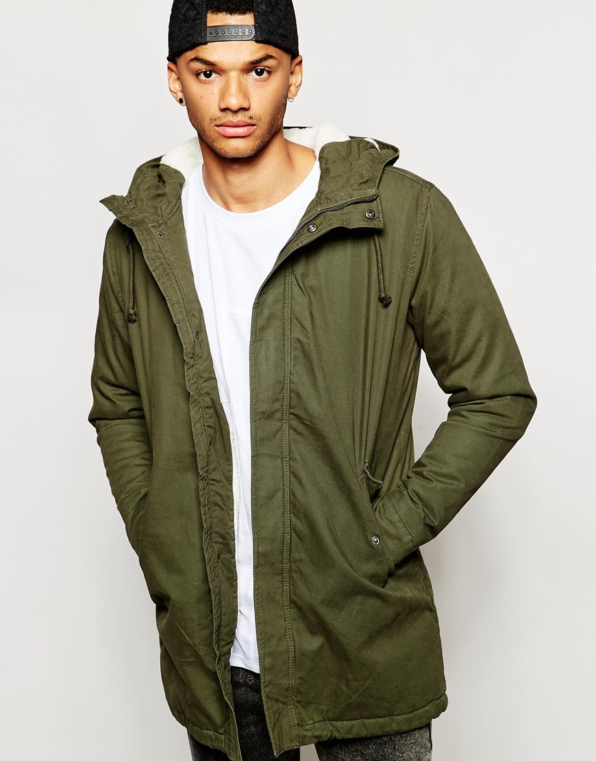 Jack & jones Parka With Fleece Lining in Green for Men | Lyst
