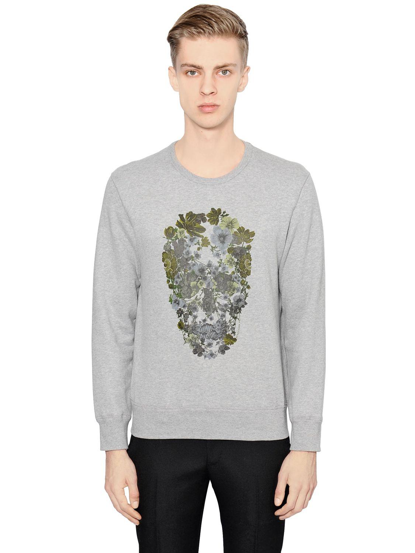 alexander mcqueen floral skull sweatshirt in gray for men grey lyst. Black Bedroom Furniture Sets. Home Design Ideas