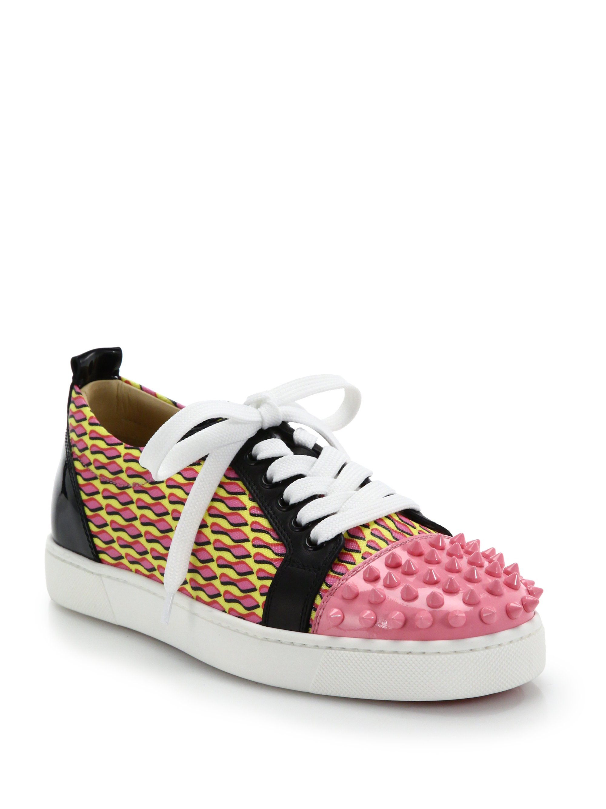 4ece3560b85 Christian Louboutin Pink Louis Jr Studded Leather & Printed Canvas Sneakers