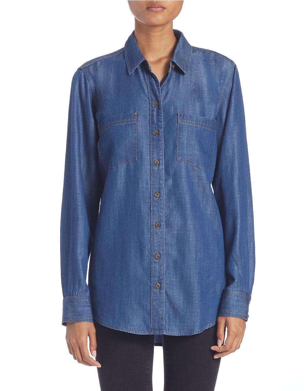 Lord Taylor Denim Roll Tab Shirt In Blue Lyst