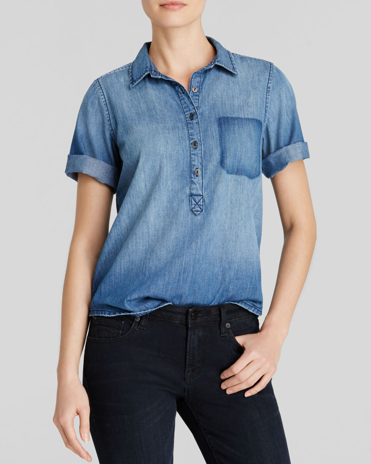 Current elliott top the popover chambray in blue day for Chambray top