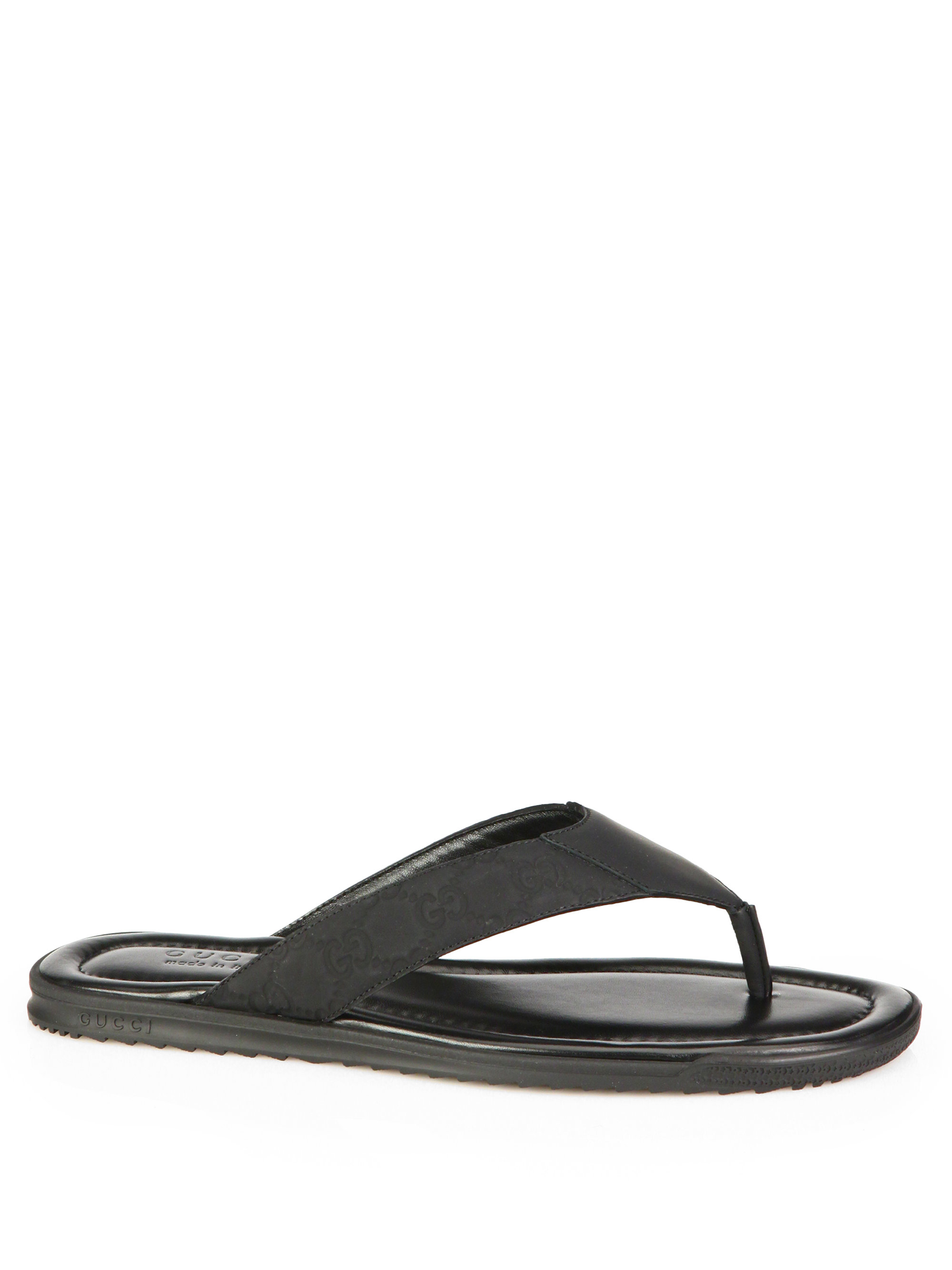 Gucci Rubberized Leather Gg Thong Flip Flops In Black For