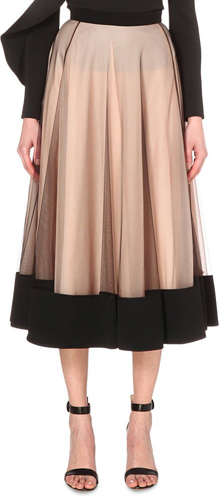 david koma pleated a line tulle skirt in pink lyst