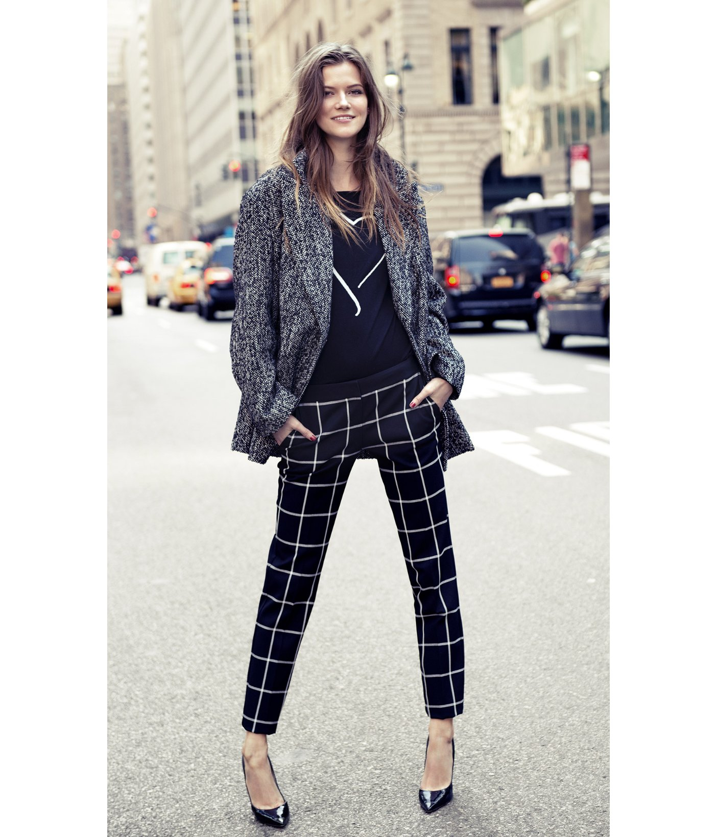 Express Windowpane Plaid Columnist Ankle Pant in Black | Lyst