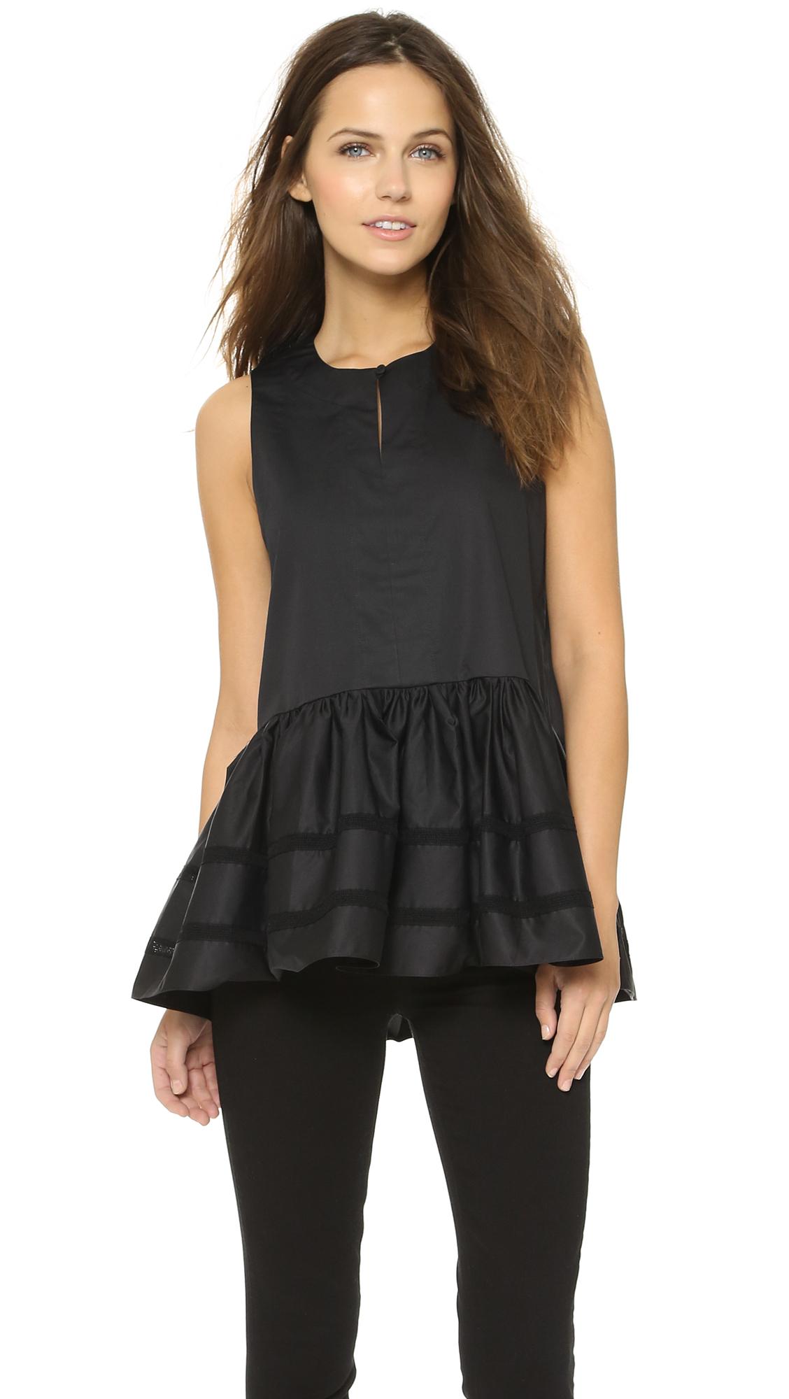 Lyst - Tibi Silk Mock Neck Smocked Top in Black - photo#30