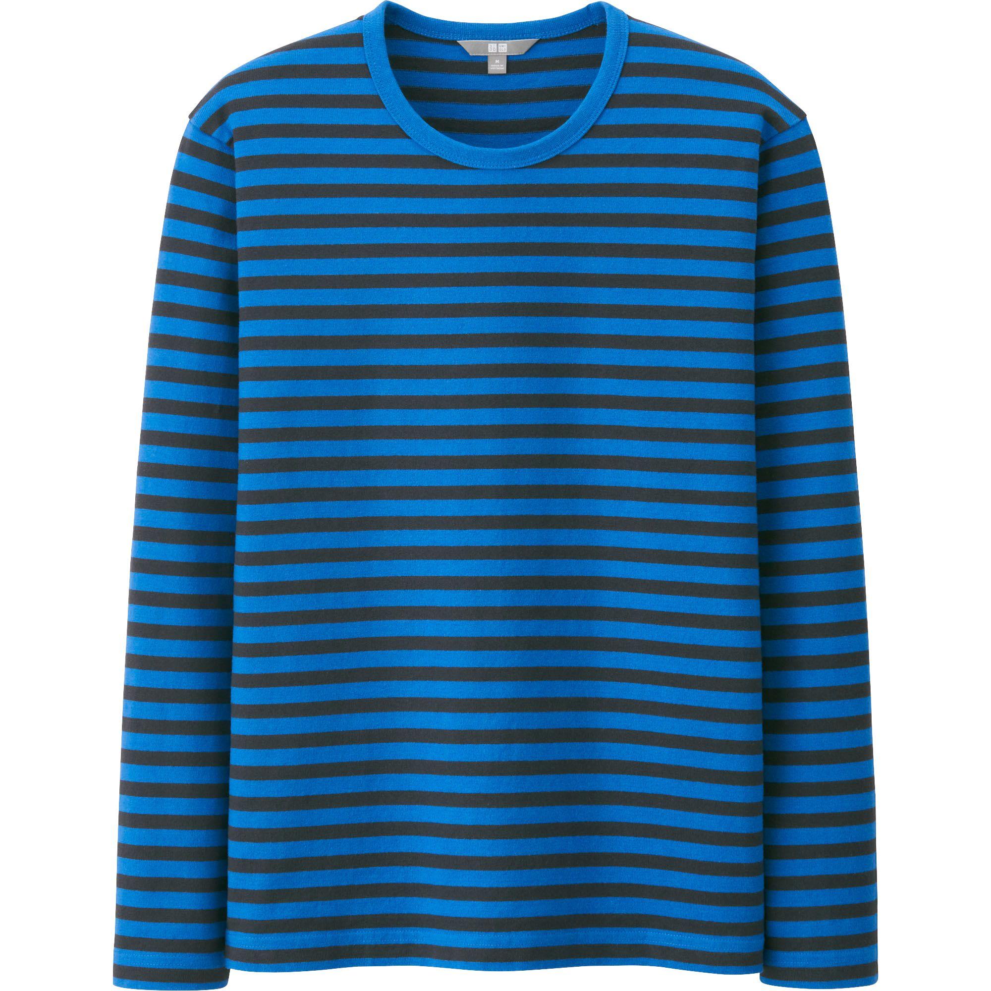 Uniqlo men washed crew neck striped long sleeve t shirt in for Mens striped long sleeve t shirt