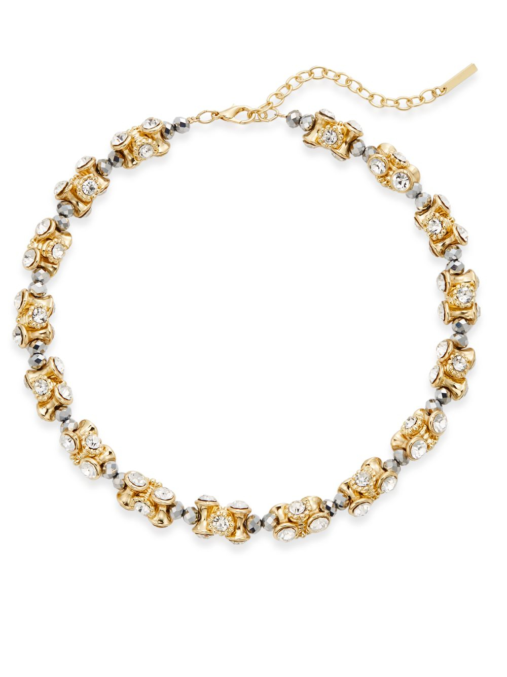 saks fifth avenue beaded sparkle section necklace in