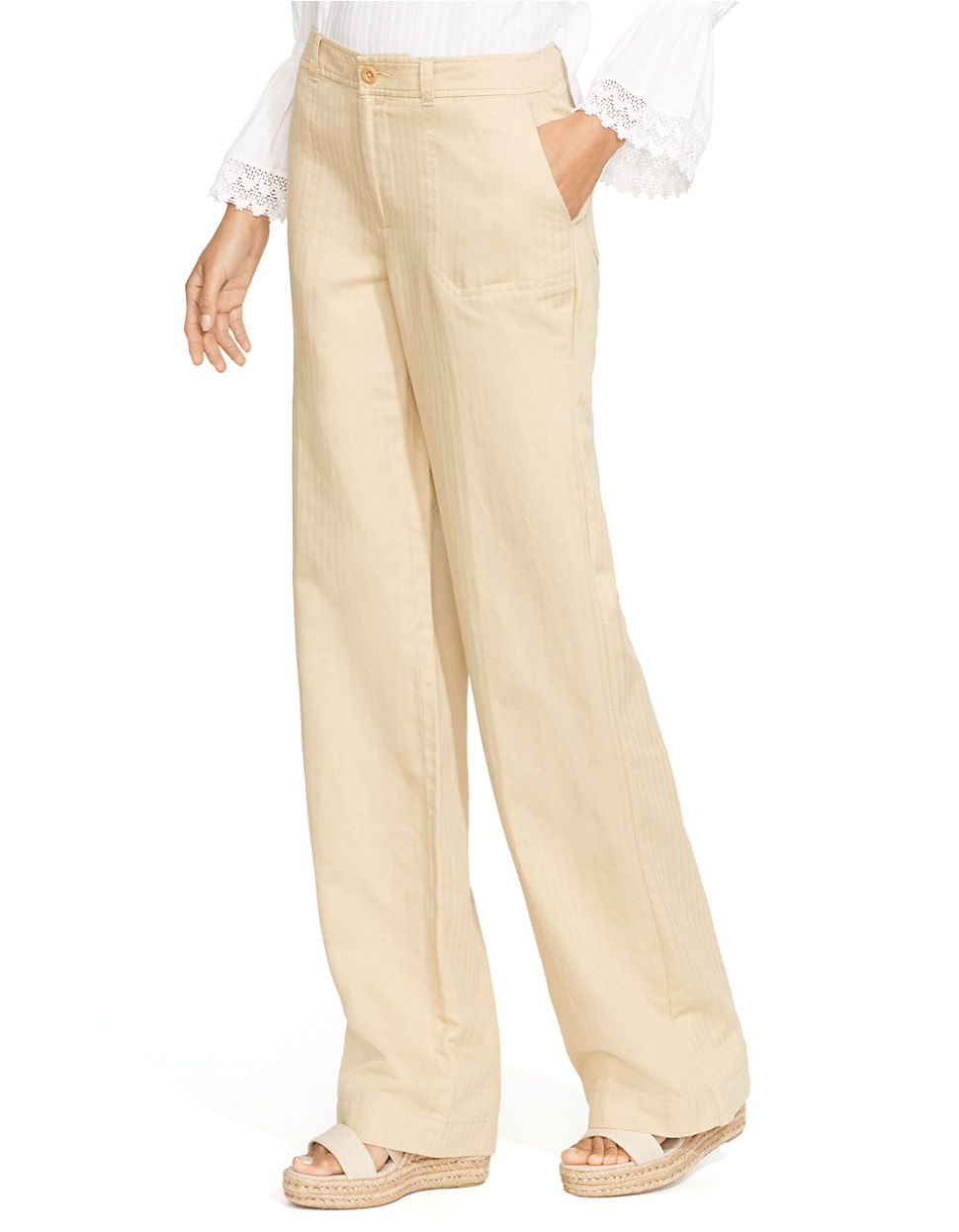 Lauren by ralph lauren Lightweight Wide-Leg Pants in Brown | Lyst