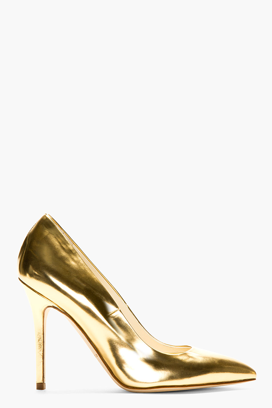 Brian atwood Gold Leather Pumps in Metallic | Lyst