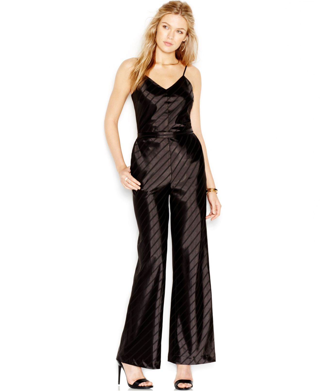 Lyst - Guess Satin Striped Jumpsuit in Black