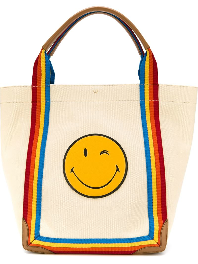 Anya Hindmarch Smiley Canvas Tote With Leather - Beige in Blue