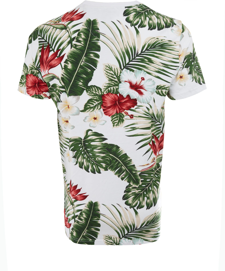 Lyst penfield white mahaka floral print tshirt in green for Floral mens t shirts