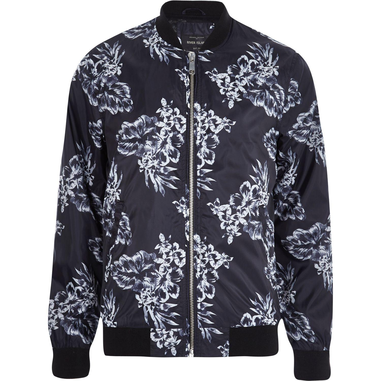 c53a9a387 River Island Black Floral Bomber Jacket for Men - Lyst