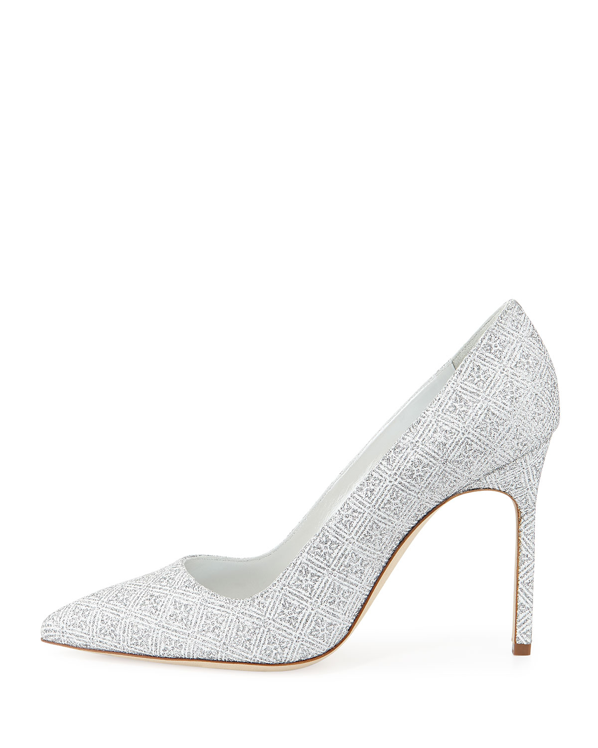 a6ee1ce211 Manolo Blahnik BB Snowflake Pointed-Toe Pumps in White - Lyst