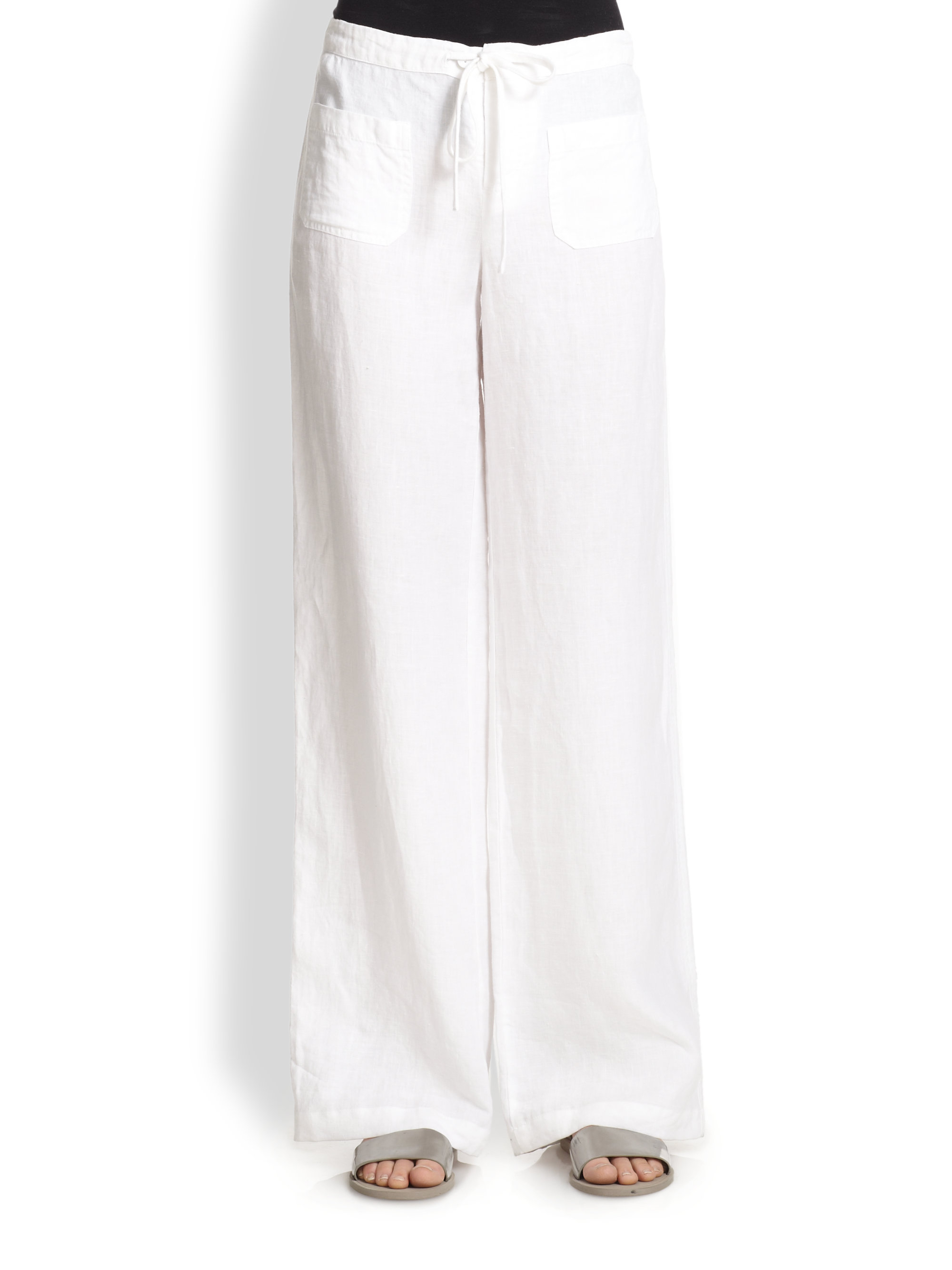 Brilliant Vince Pants Beach Linen In White  Lyst