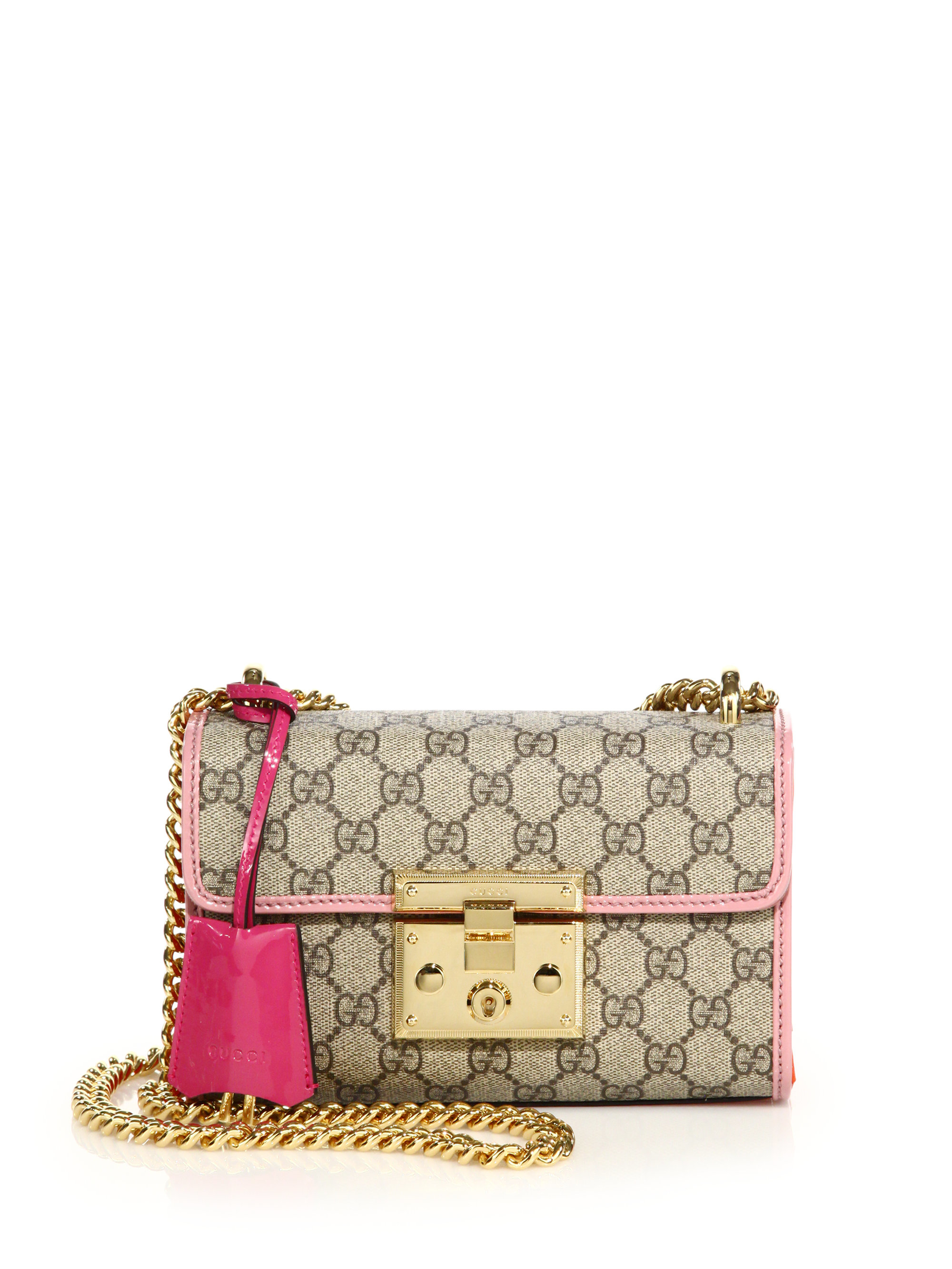 058d4f3e532 Lyst - Gucci Padlock Gg Supreme Small Shoulder Bag in Pink