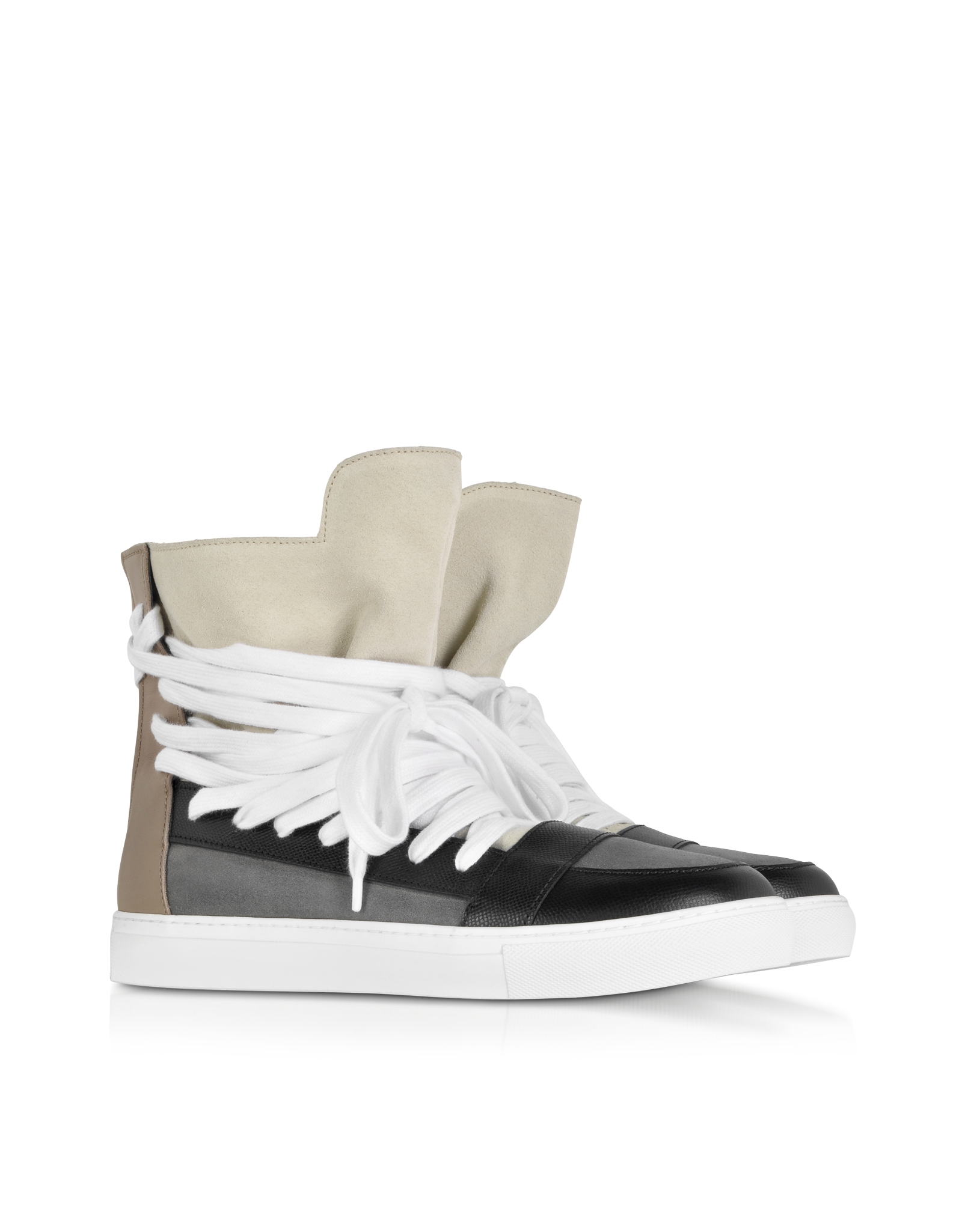 019fafe96a Lyst - Kris Van Assche Multi Brown Multilaces High Top Sneaker in Black for  Men