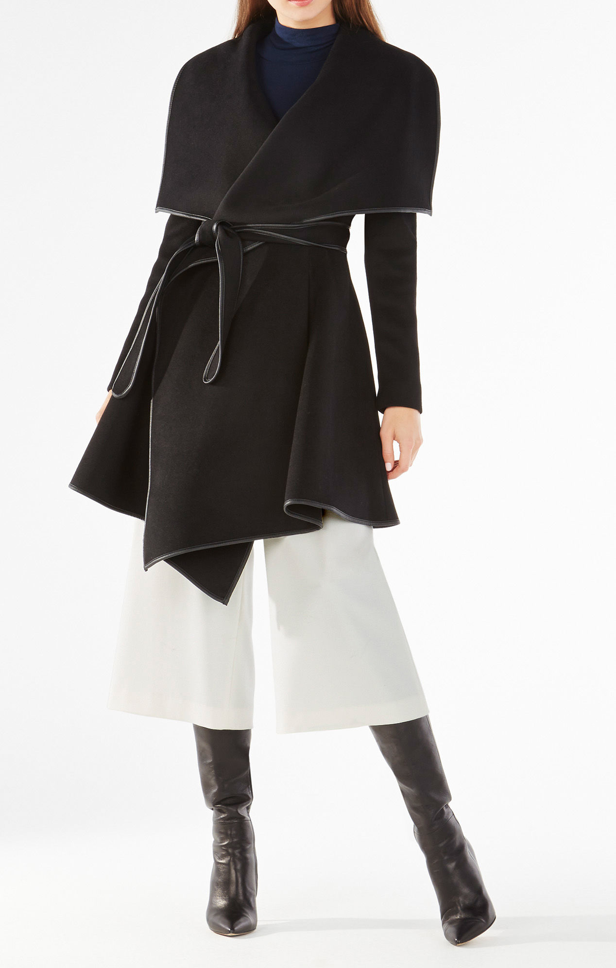 Bcbgmaxazria Cameron Wrapped Trench Coat In Black Lyst