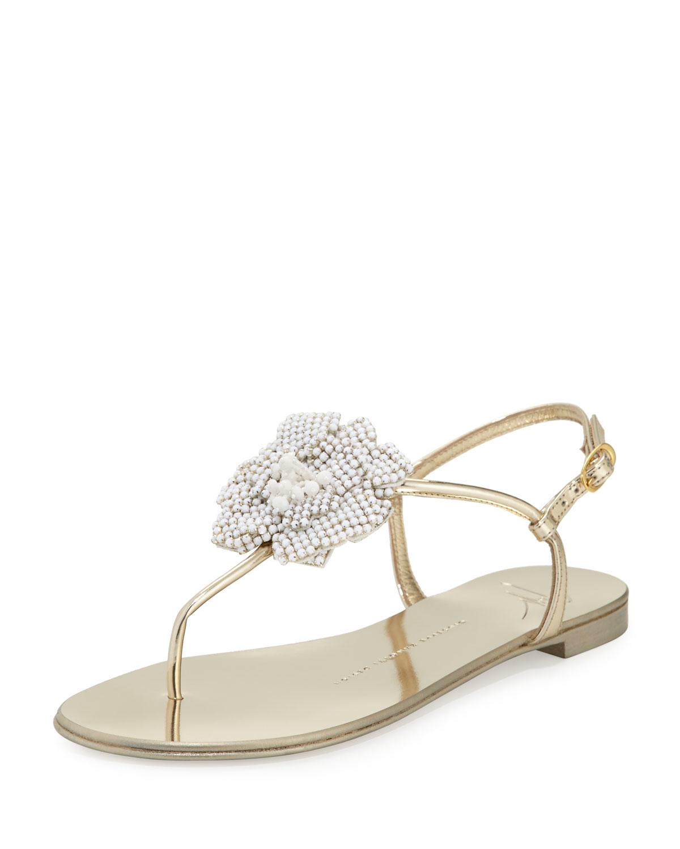 211195727 Lyst - Giuseppe Zanotti Metallic Crystal Flat Sandal in Metallic