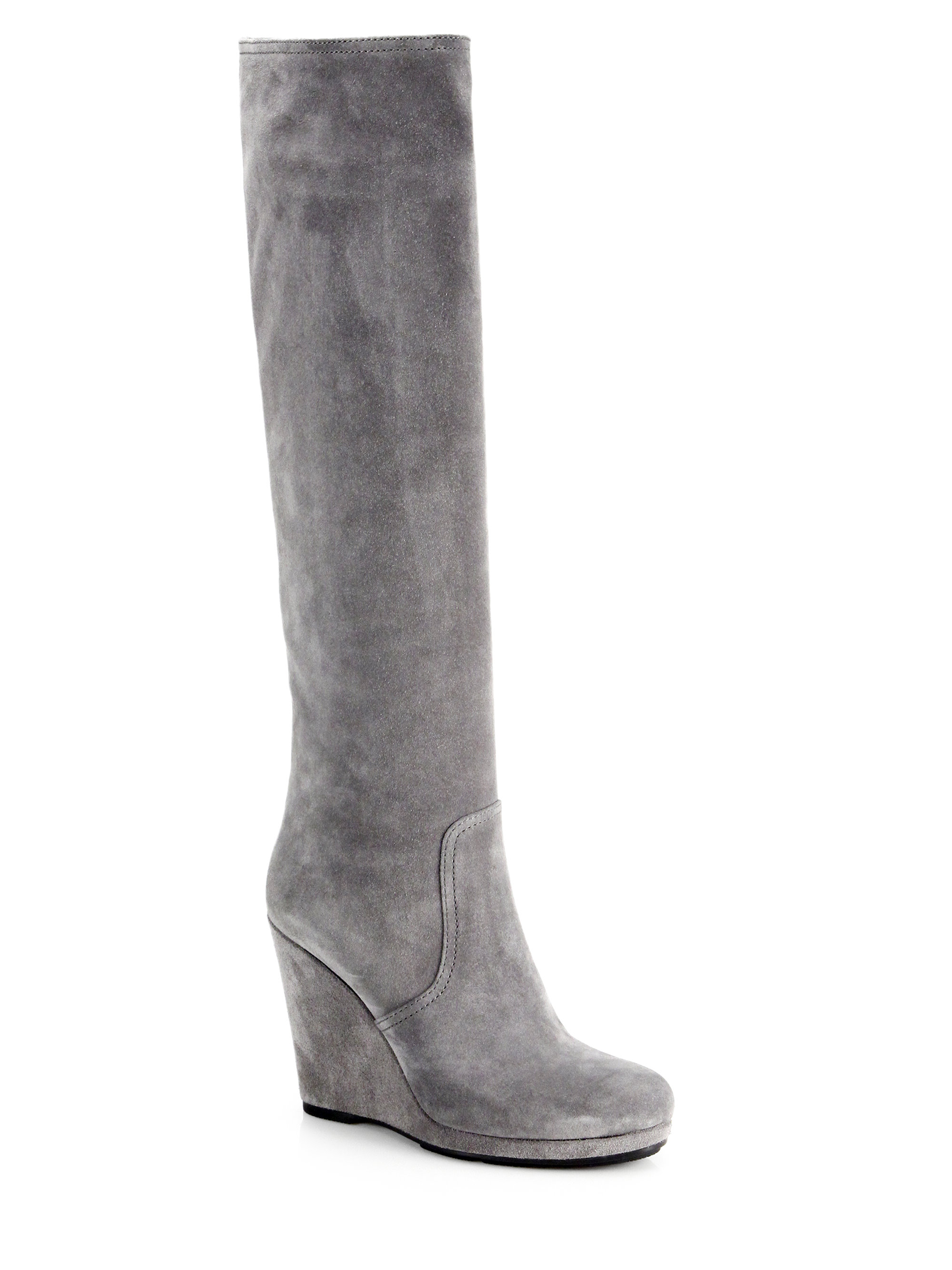 prada suede knee high wedge boots in gray grey lyst