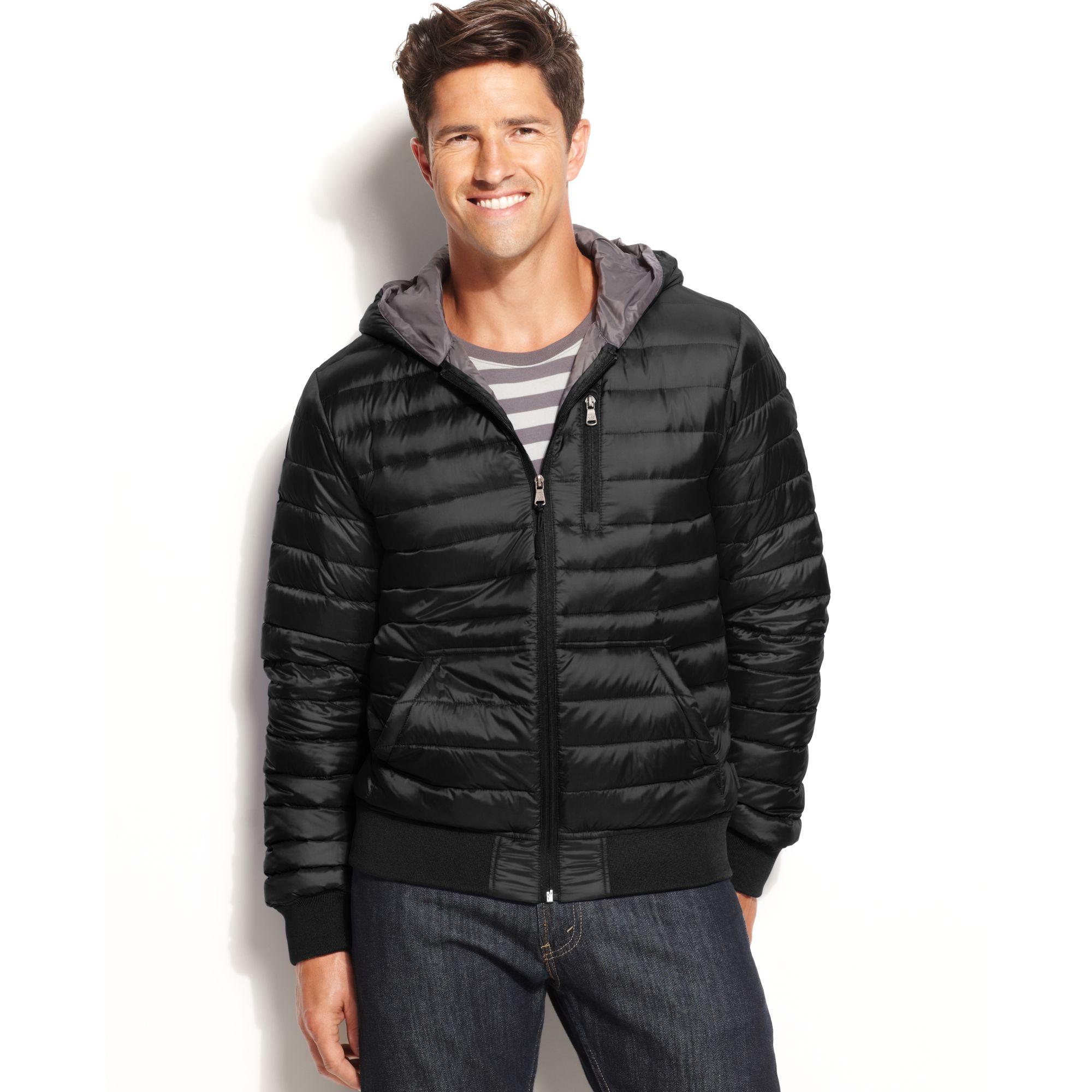 Calvin klein Hooded Packable Down Jacket in Black for Men | Lyst