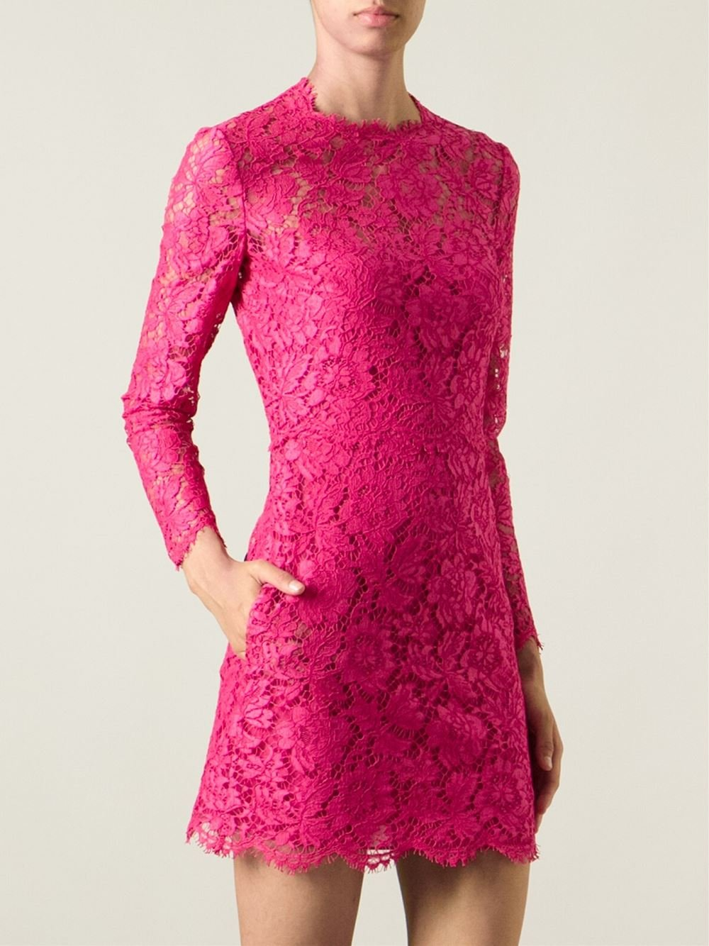 Lyst Valentino Lace Cocktail Dress In Pink