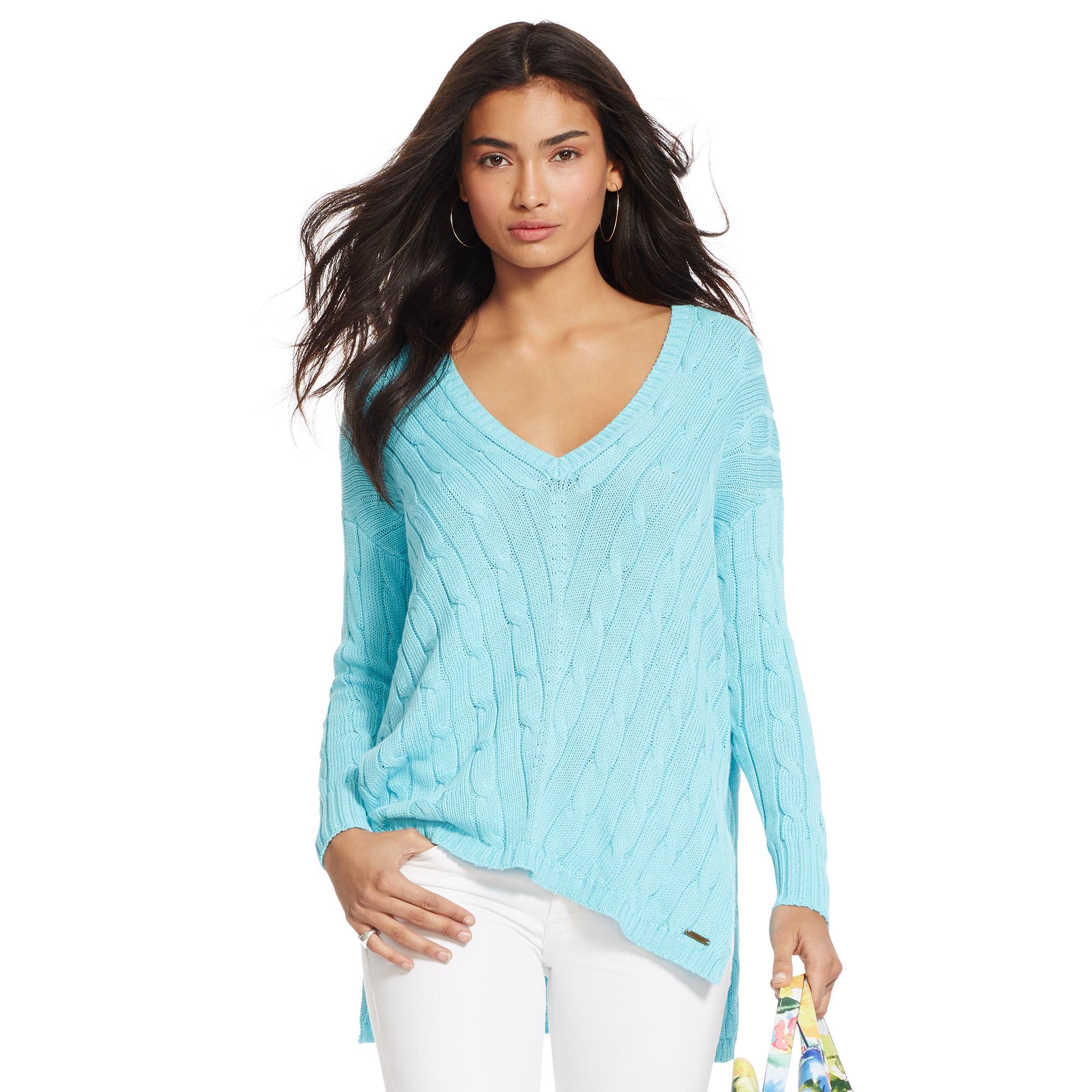 Polo Cable Knit Lauren Sweater Blue Ralph V Neck oBQerdCxW