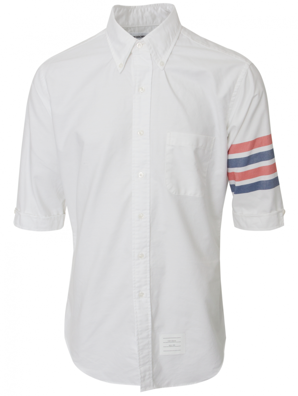 Thom browne classic 3 4 striped sleeve shirt white in for Thom browne white shirt