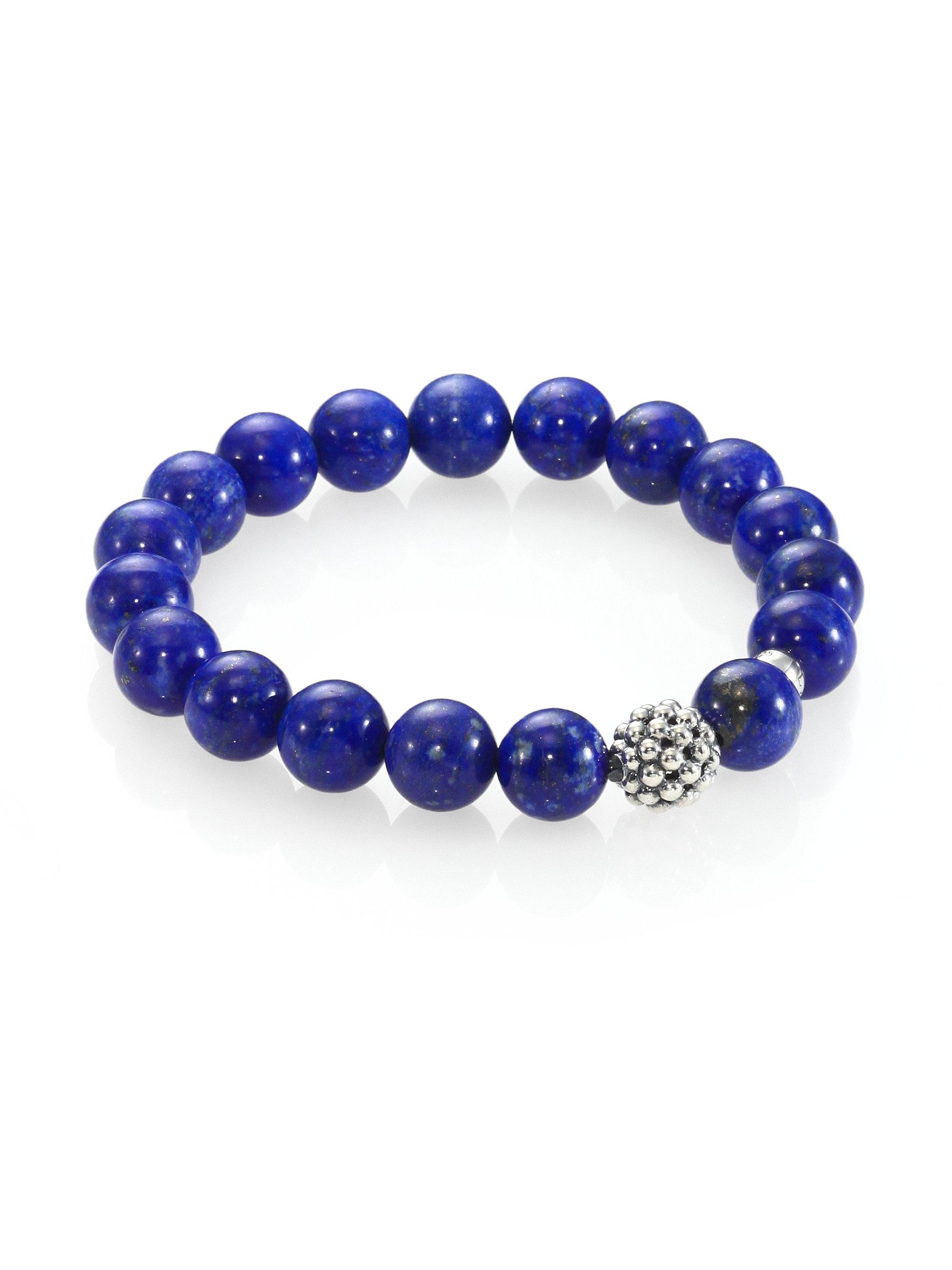 Lagos Lapis Sterling Silver Bead Bracelet In Blue Lyst
