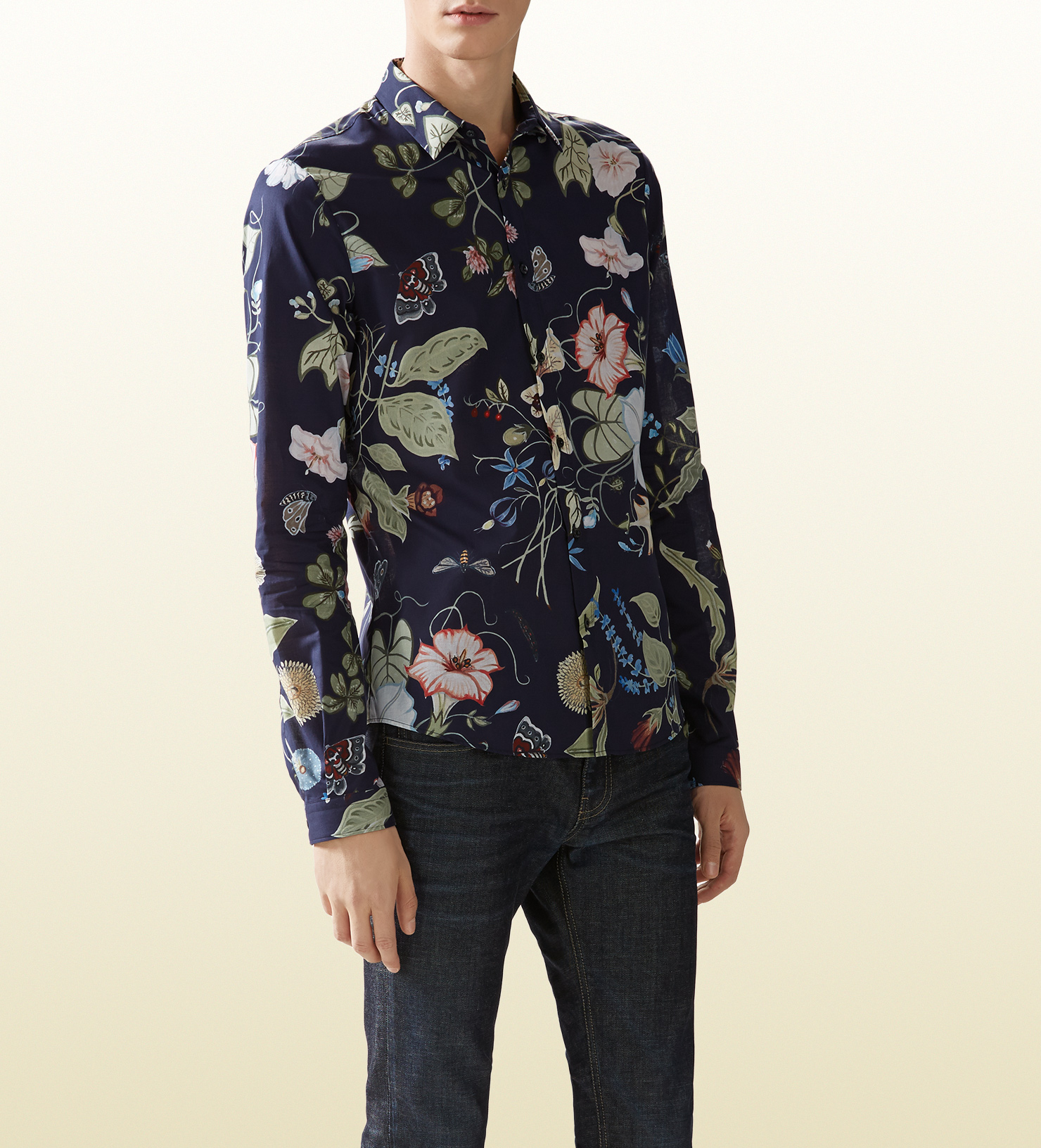 7ed14ba00 Gucci Flora Knight Print Duke Shirt in Blue for Men - Lyst