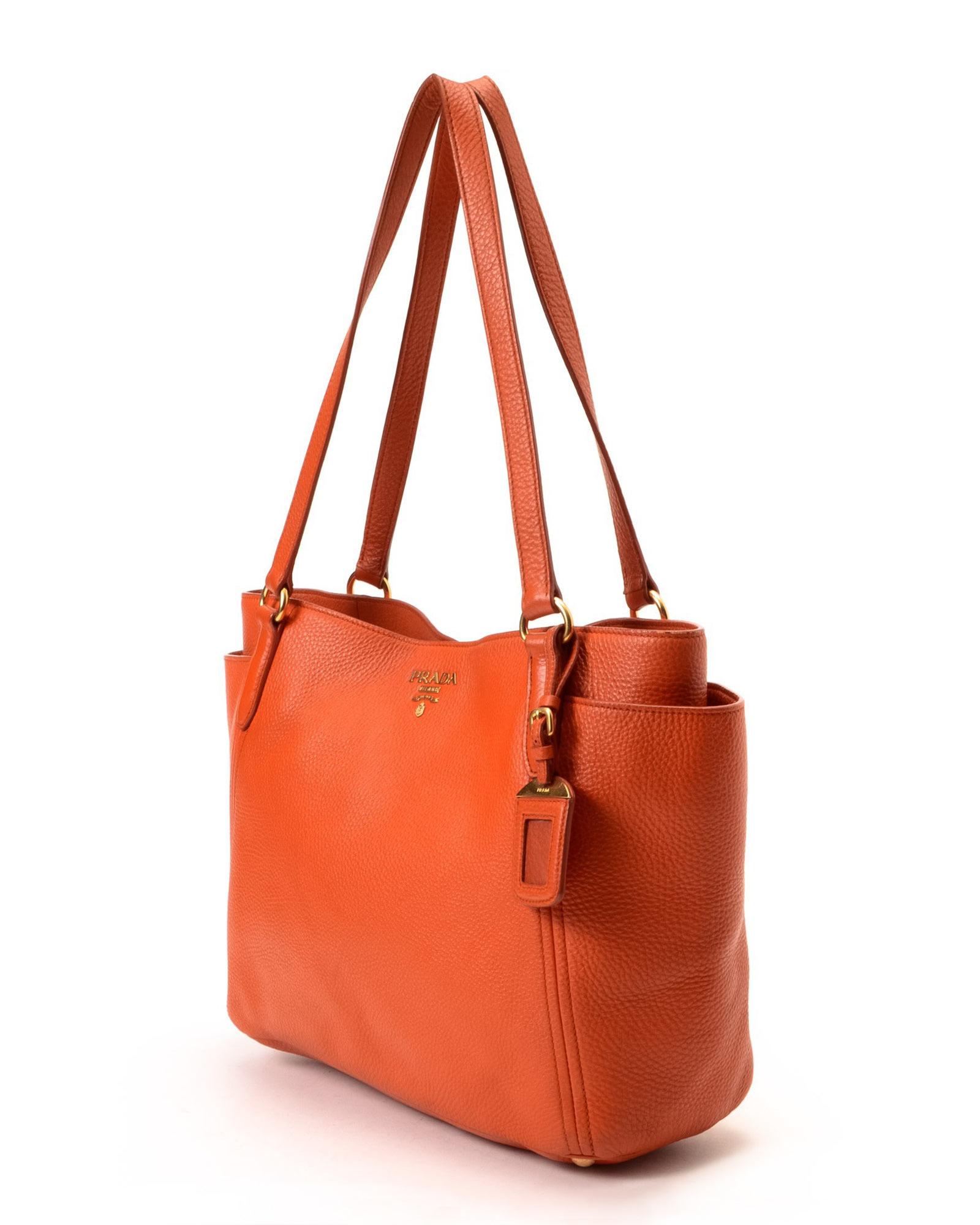 prada blue leather handbag - Prada tote black+orange
